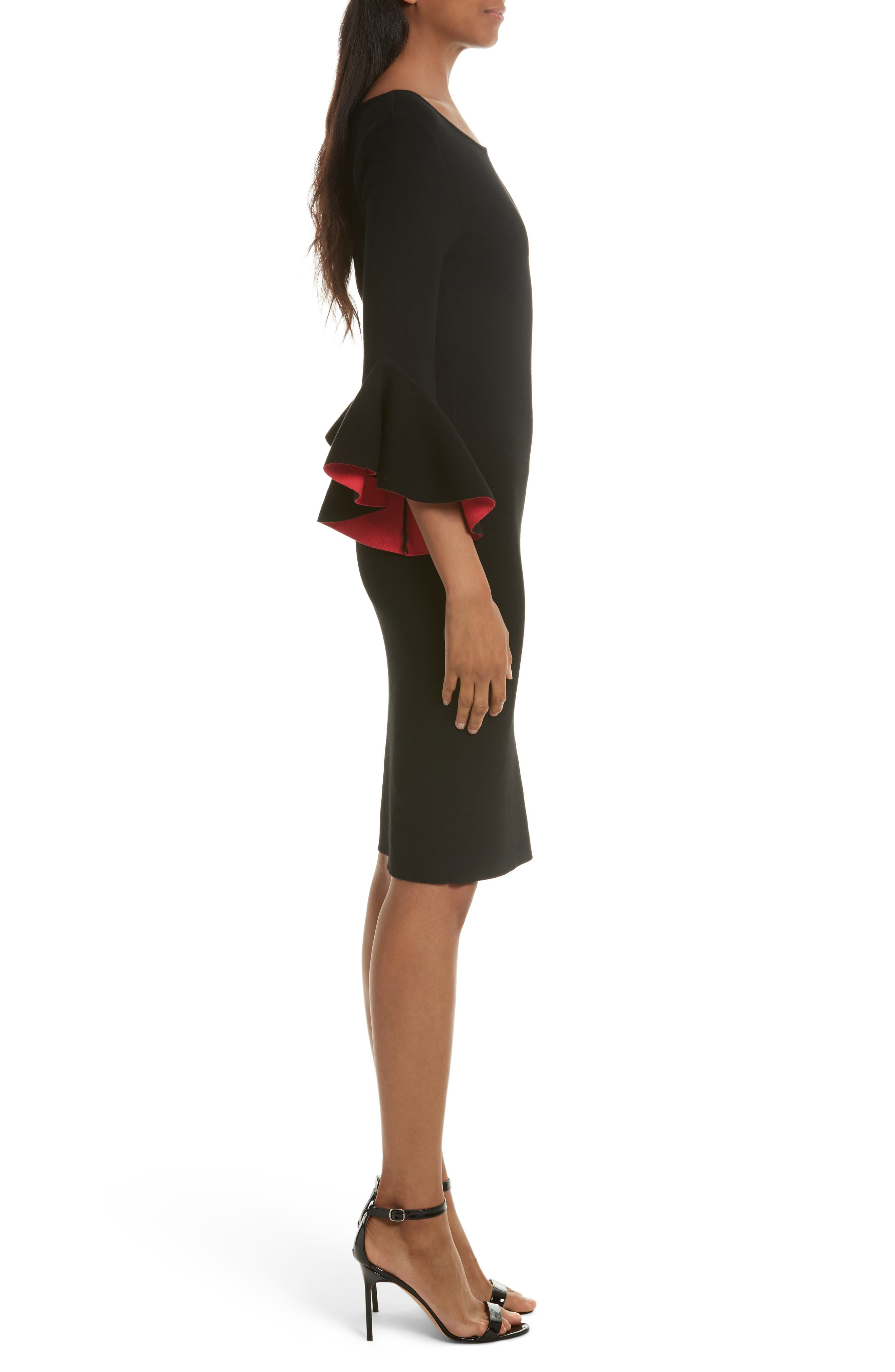 Contrast Lined Bell Sleeve Sheath Dress,                             Alternate thumbnail 3, color,