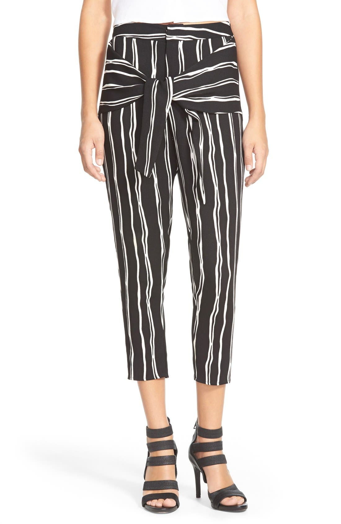 Tie Front Trousers, Main, color, 001