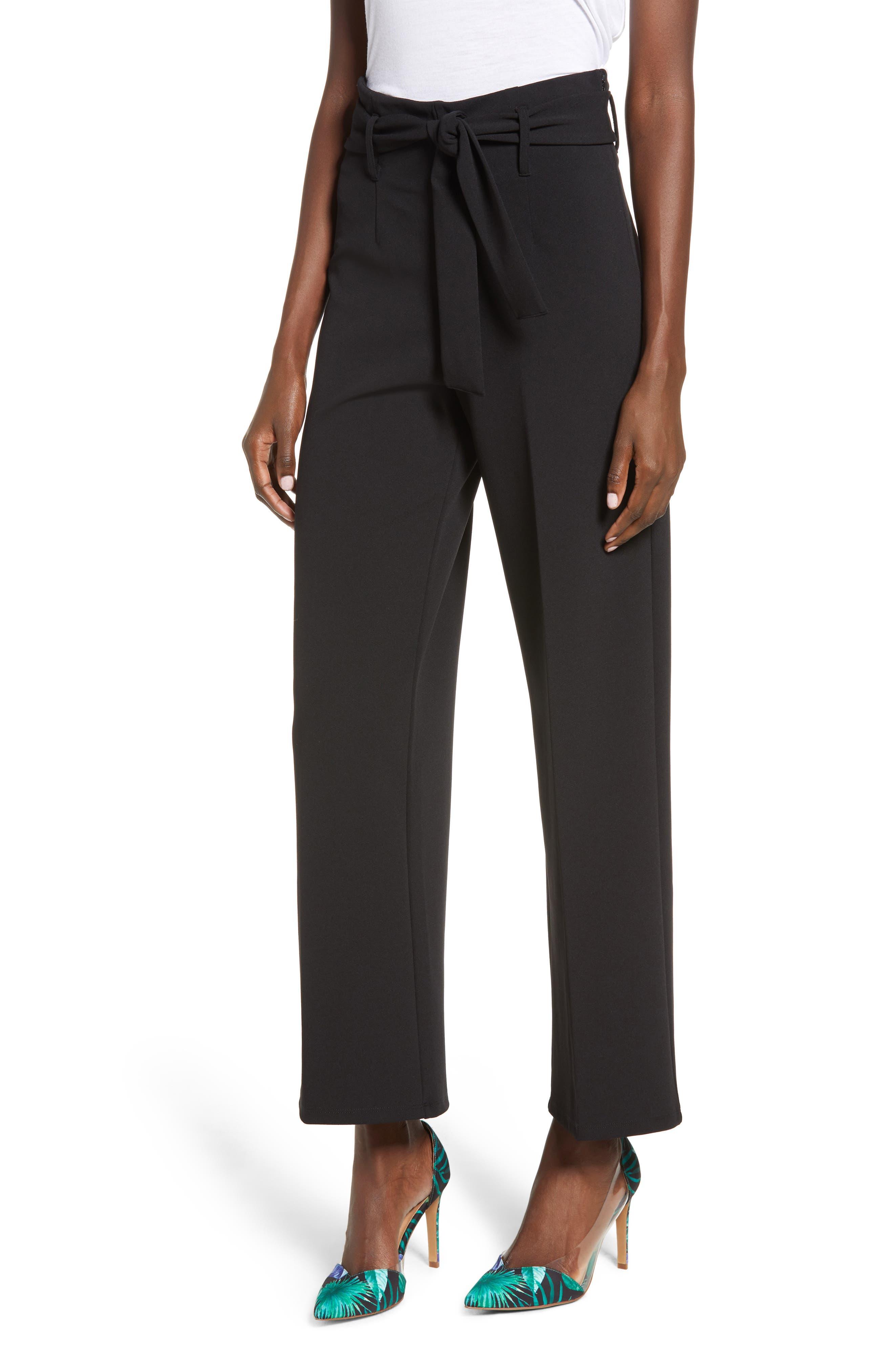 High Waist Belted Pants, Main, color, BLACK
