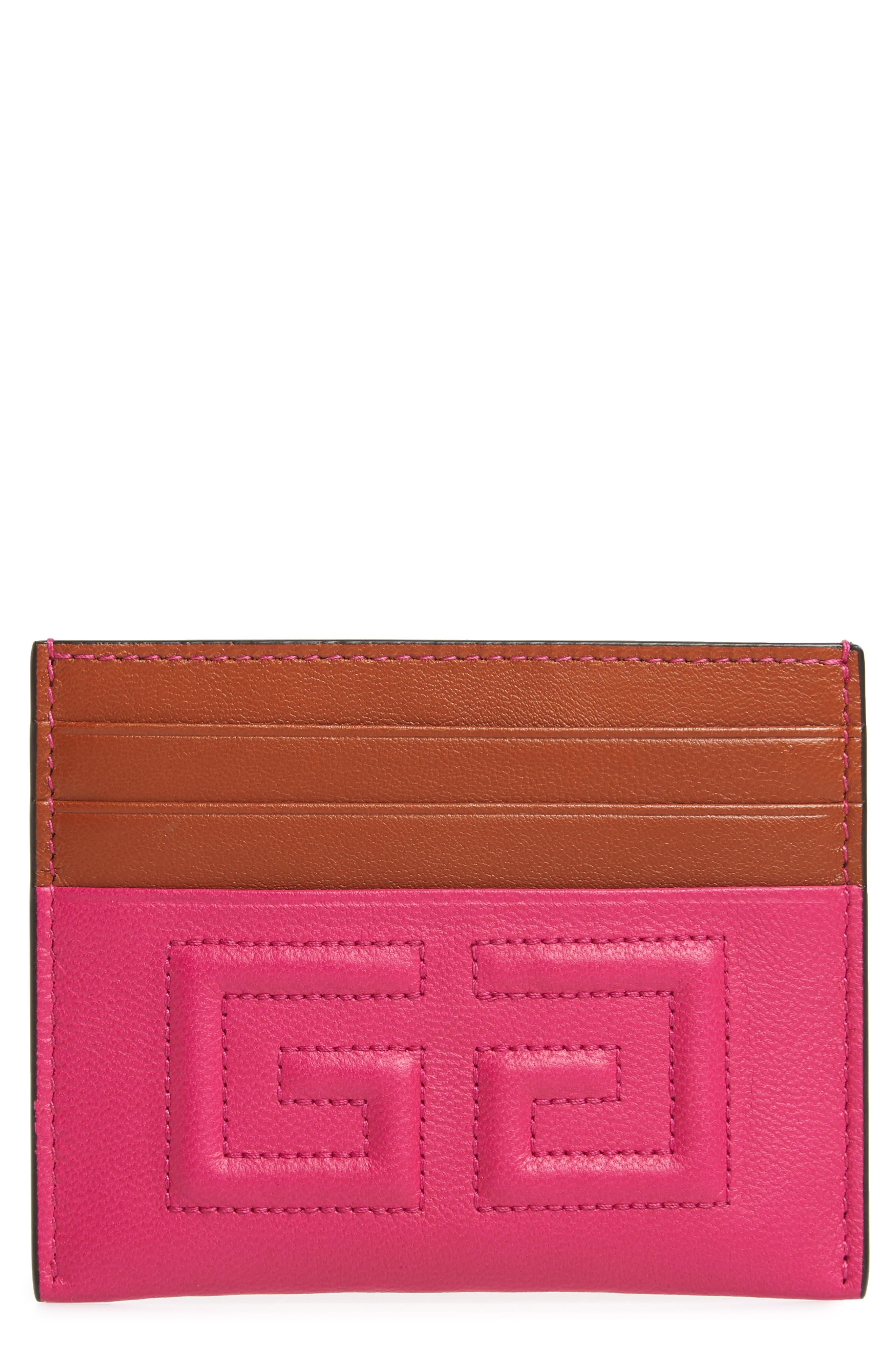 Emblem Leather Card Case,                             Main thumbnail 1, color,                             CYCLAMEN