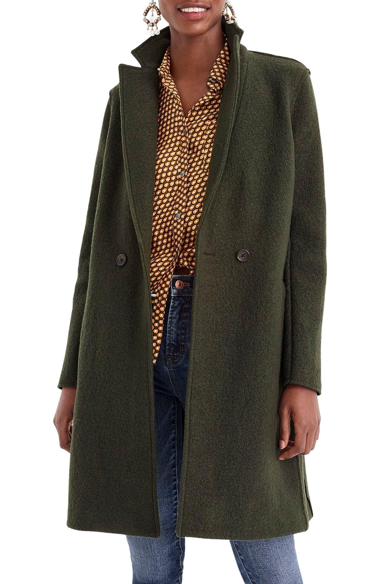 J.CREW Daphne Boiled Wool Topcoat, Main, color, 301