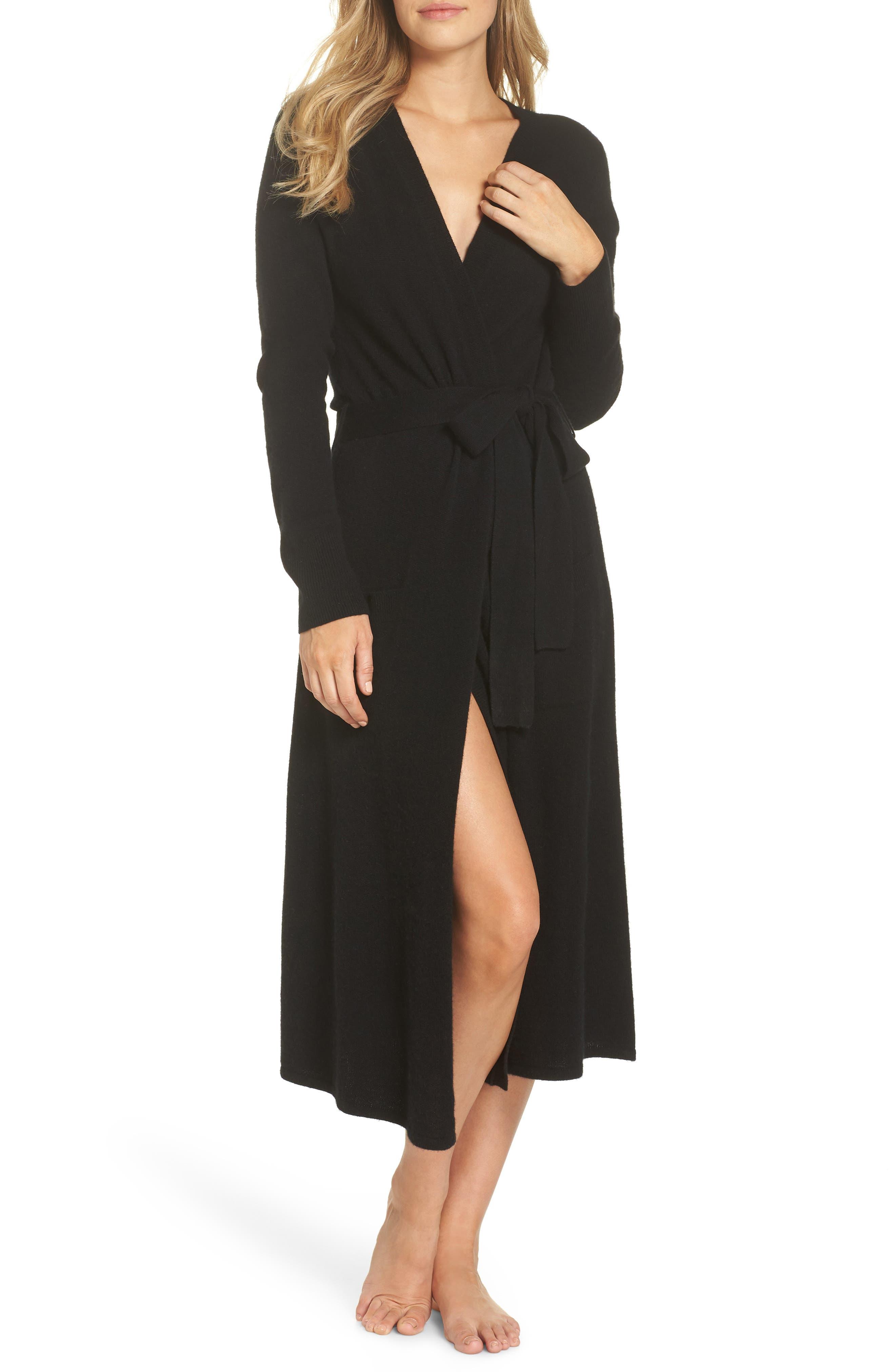 Cashmere Robe,                             Main thumbnail 1, color,                             BLACK