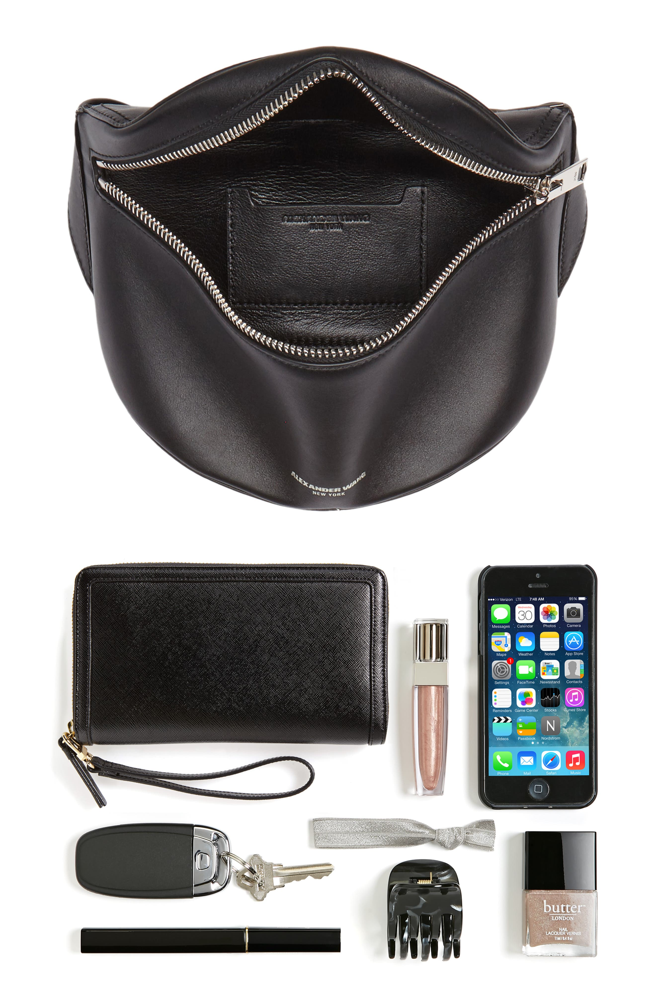 Leather Fanny Pack,                             Alternate thumbnail 8, color,                             001