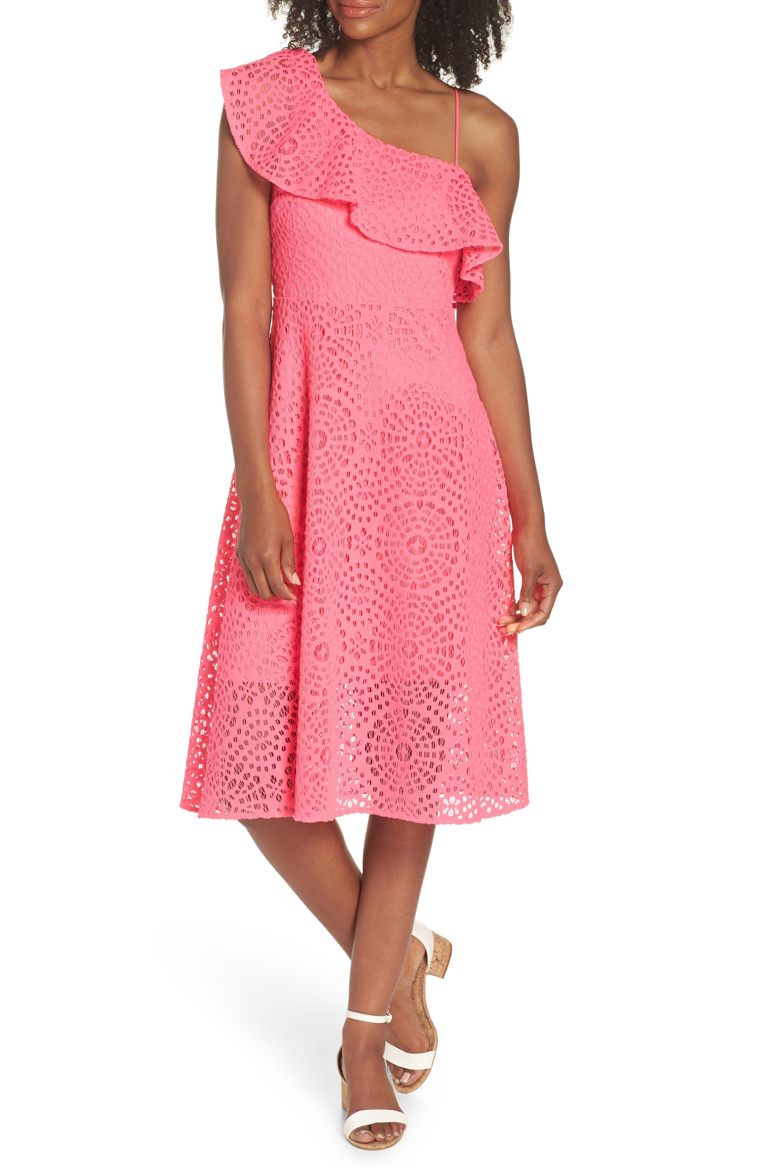 Callisto Ruffle One-Shoulder Midi Dress,                             Alternate thumbnail 5, color,                             PINK SEA URCHIN TERRY LACE