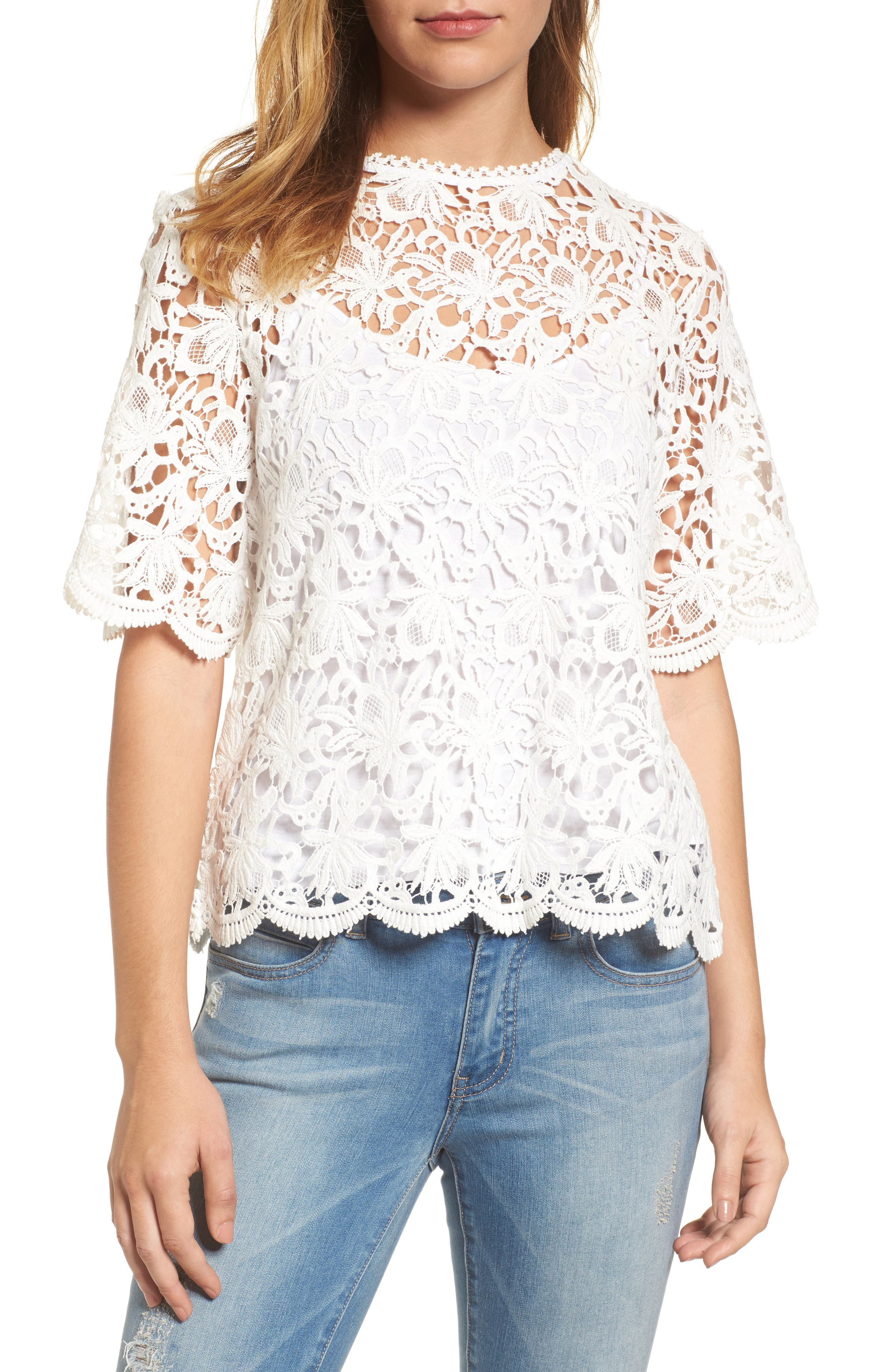 Lace Elbow Sleeve Blouse,                             Main thumbnail 1, color,