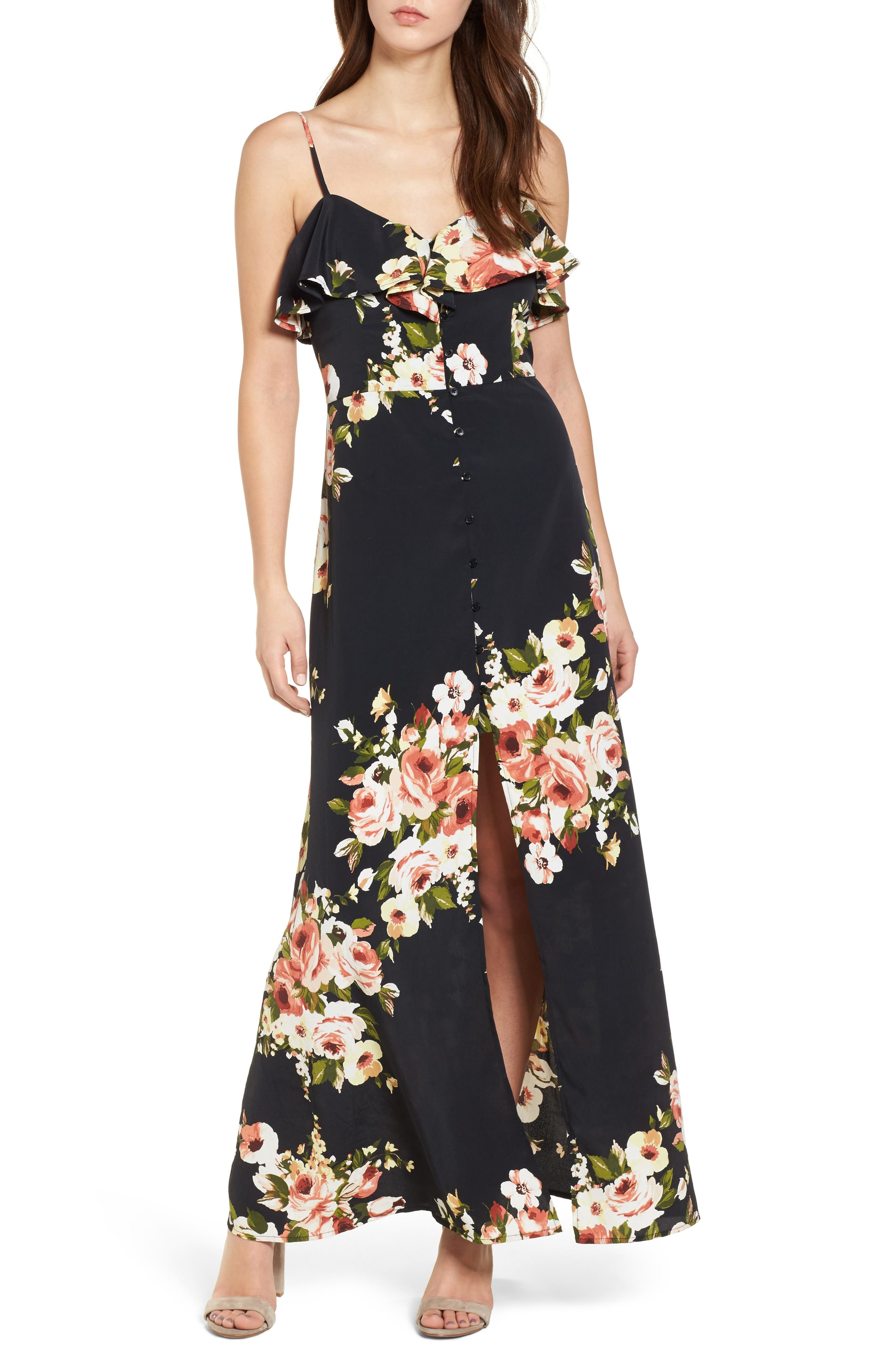 Floral Maxi Dress,                             Main thumbnail 1, color,                             010