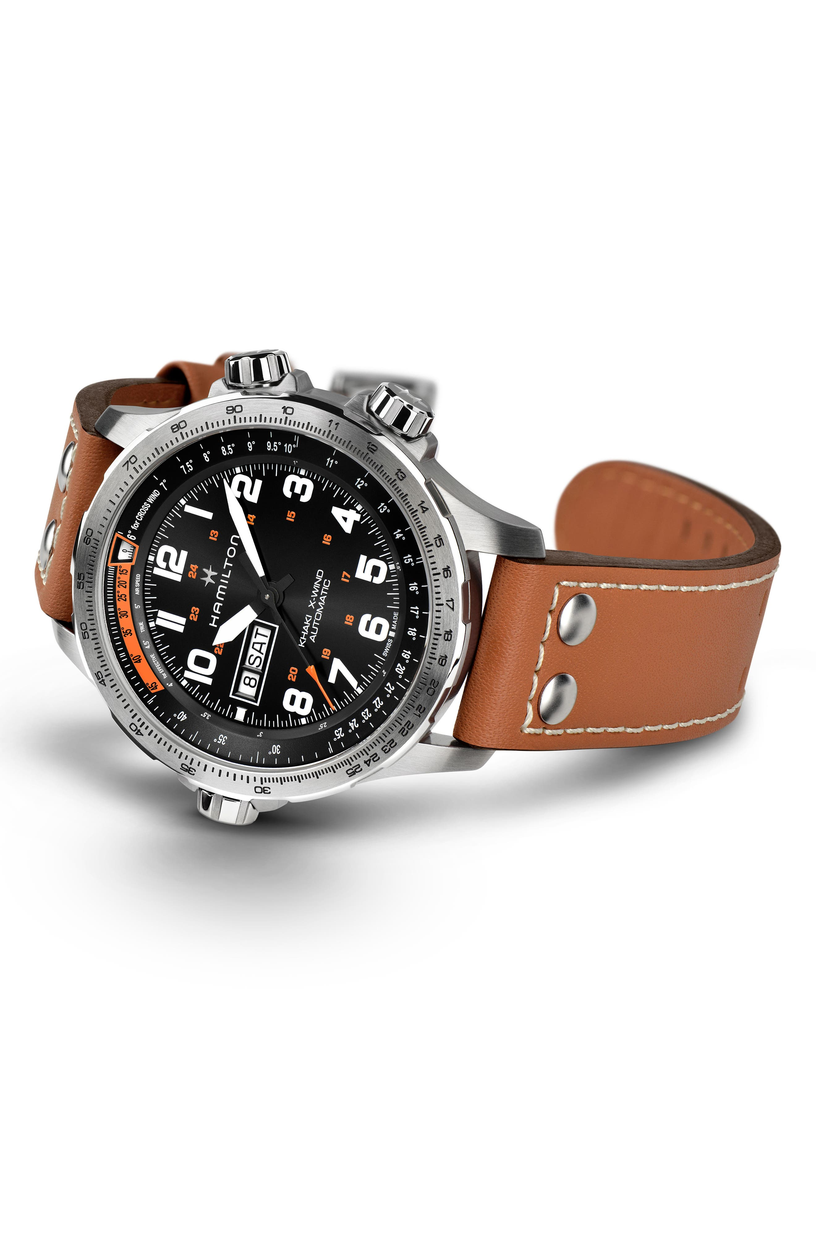 Khaki X-Wind Automatic Chronograph Leather Strap Watch, 45mm,                             Alternate thumbnail 2, color,                             LIGHT BROWN/ BLACK/ SILVER