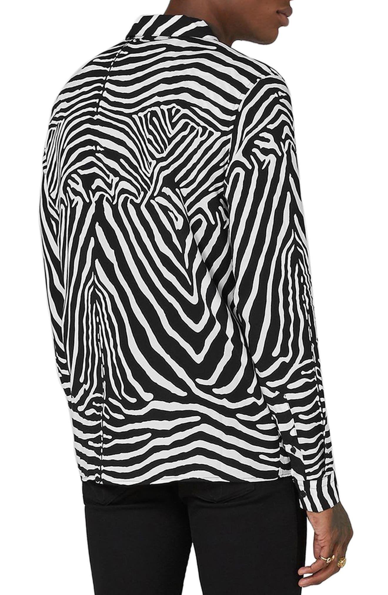 Classic Fit Zebra Print Revere Shirt,                             Alternate thumbnail 2, color,                             001