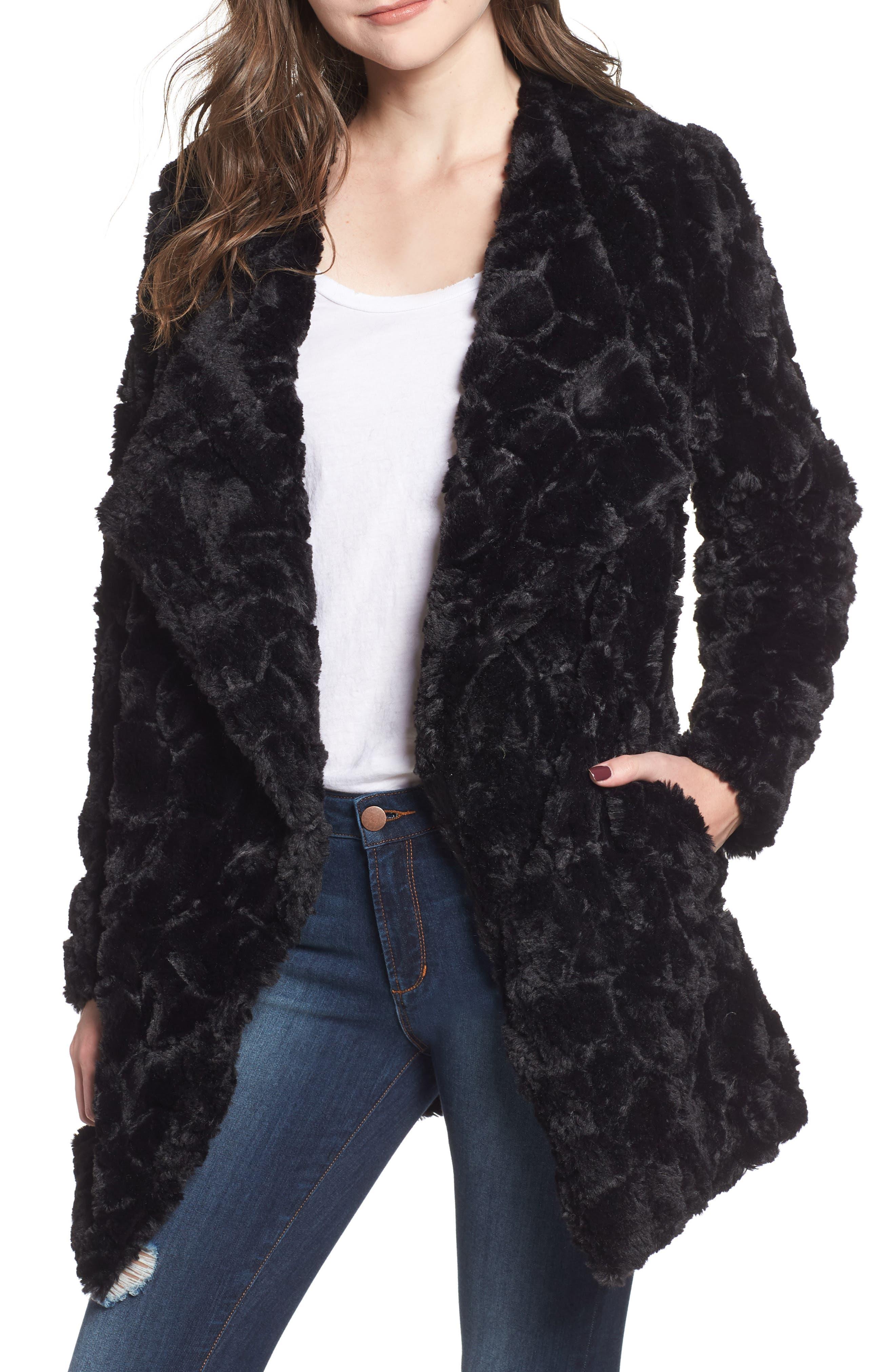 Tucker Wubby Faux Fur Coat,                             Main thumbnail 1, color,                             001