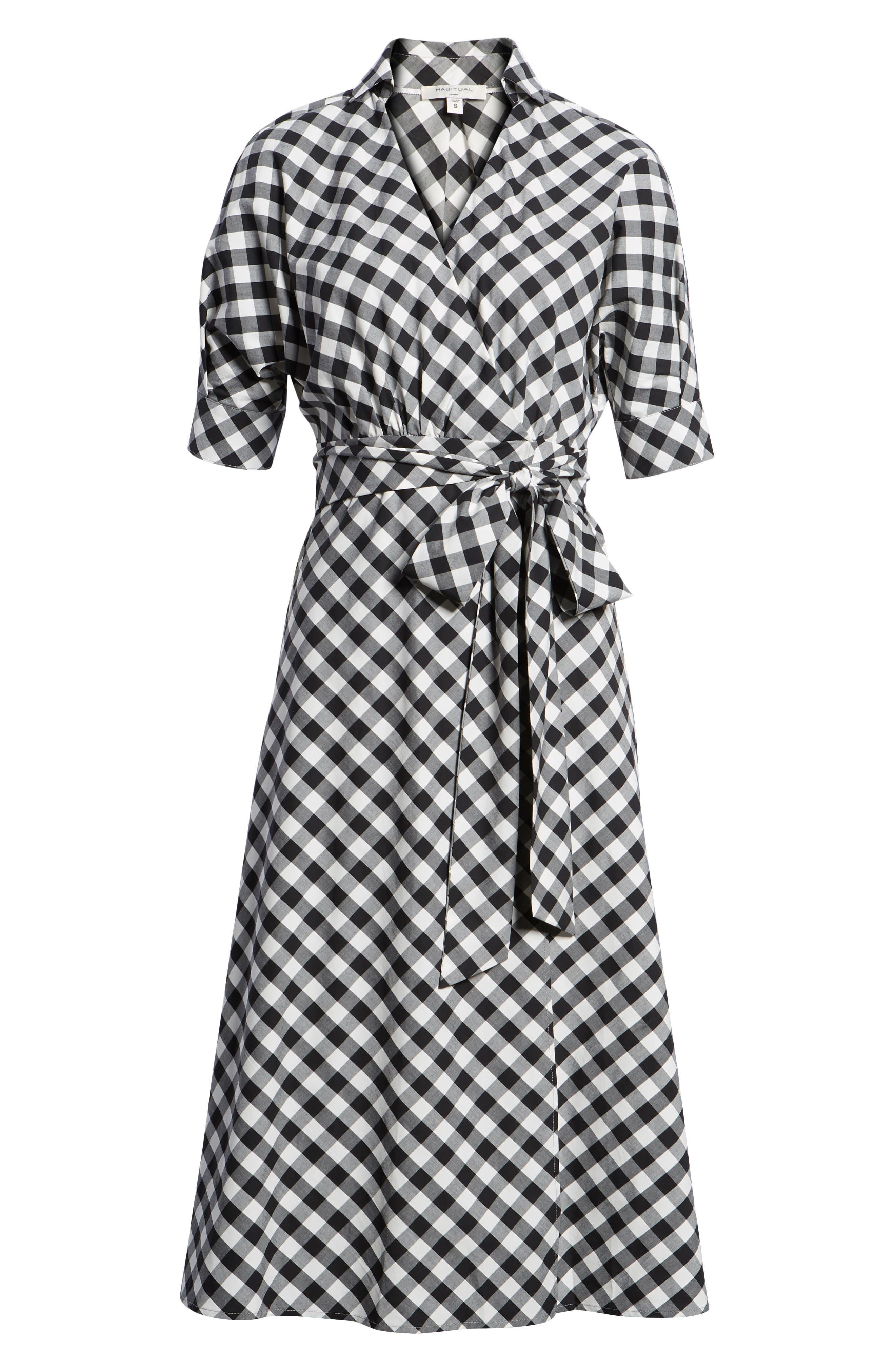 Gingham Wrap Midi Dress,                             Alternate thumbnail 7, color,                             003