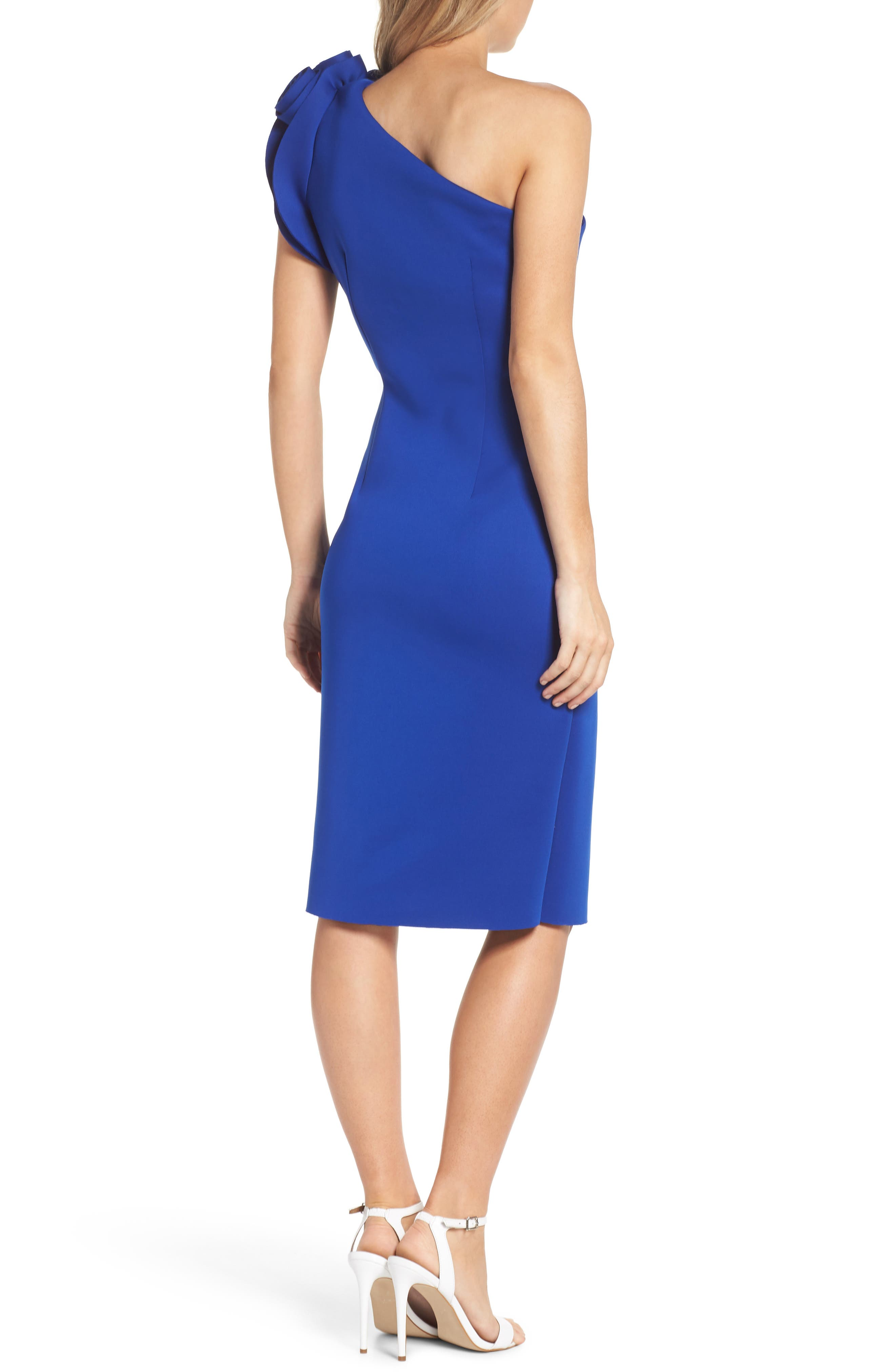 One-Shoulder Sheath Dress,                             Alternate thumbnail 2, color,                             COBALT