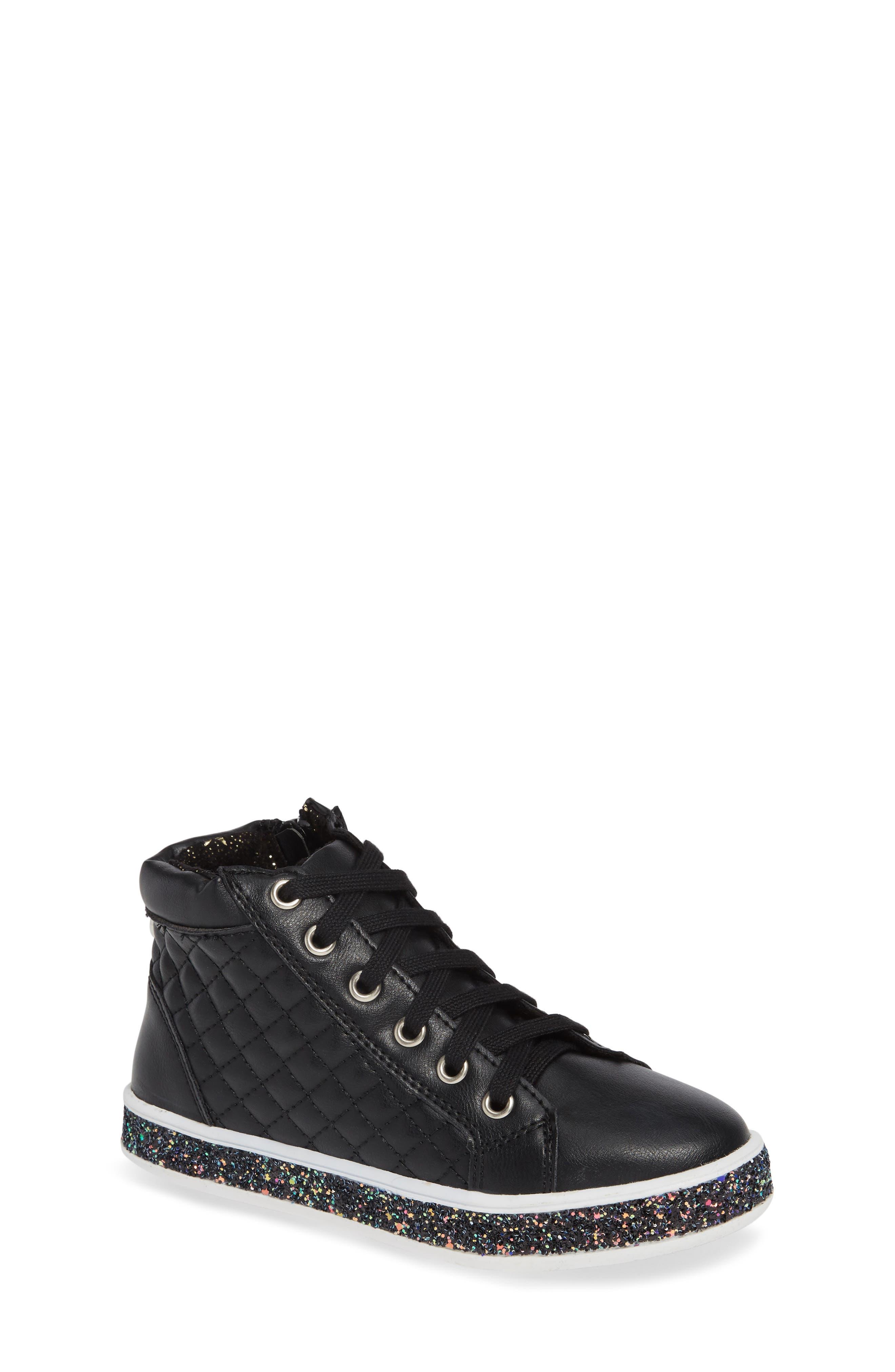 Glittery High Top Sneaker,                         Main,                         color, BLACK