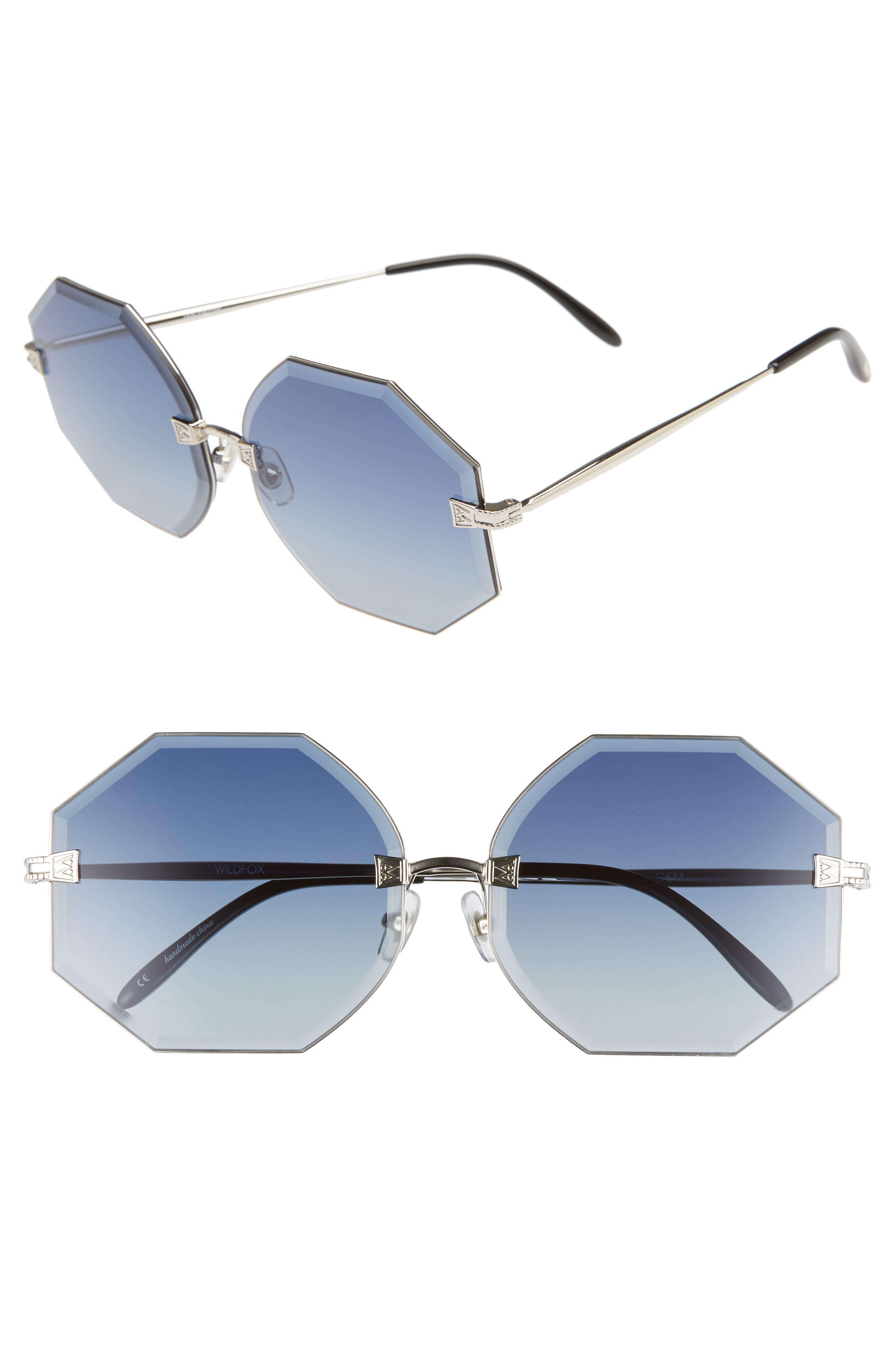 Gem 64mm Oversize Geometric Sunglasses,                         Main,                         color, 040