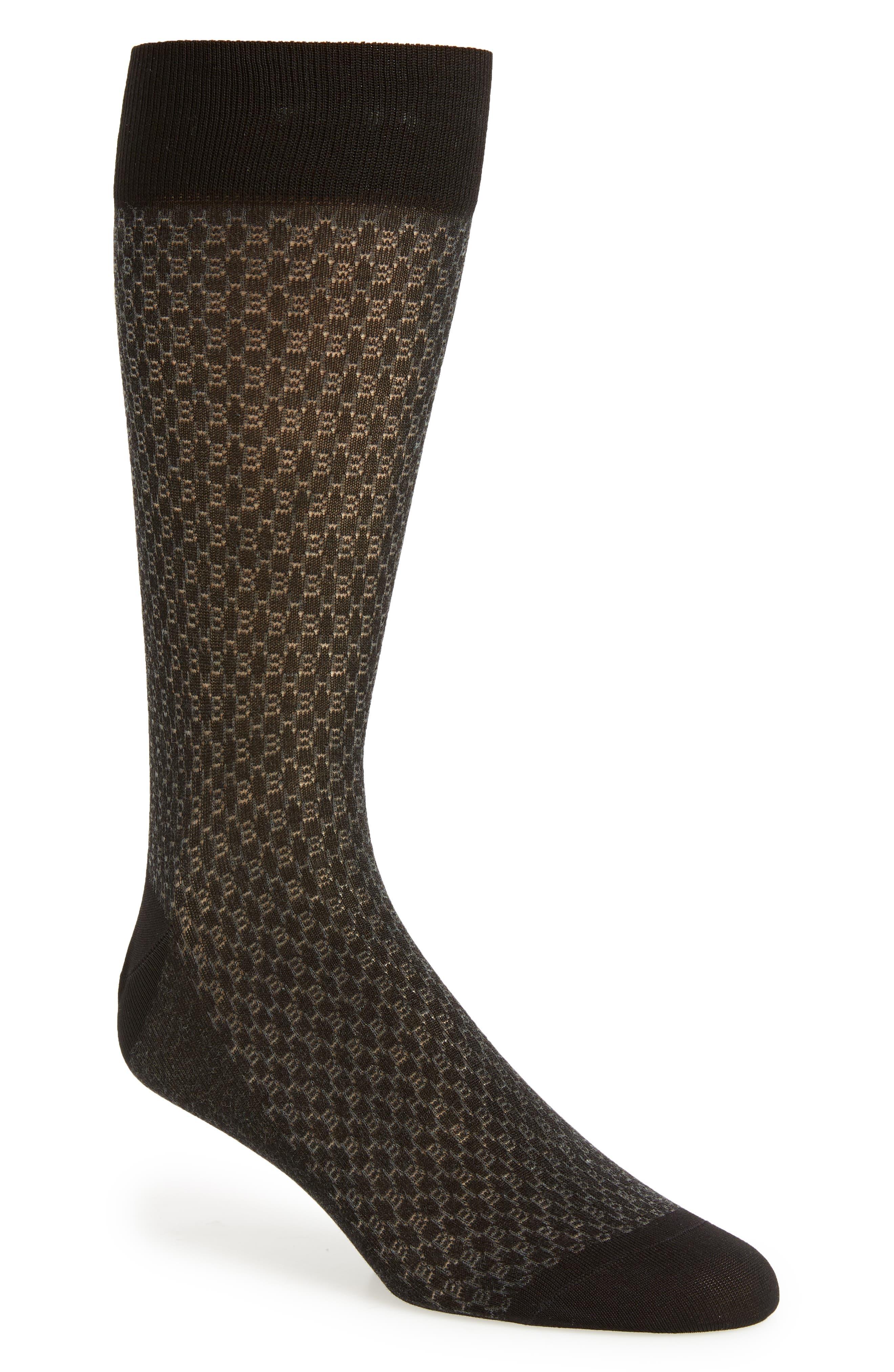 Geometric Socks,                             Main thumbnail 1, color,                             BLACK