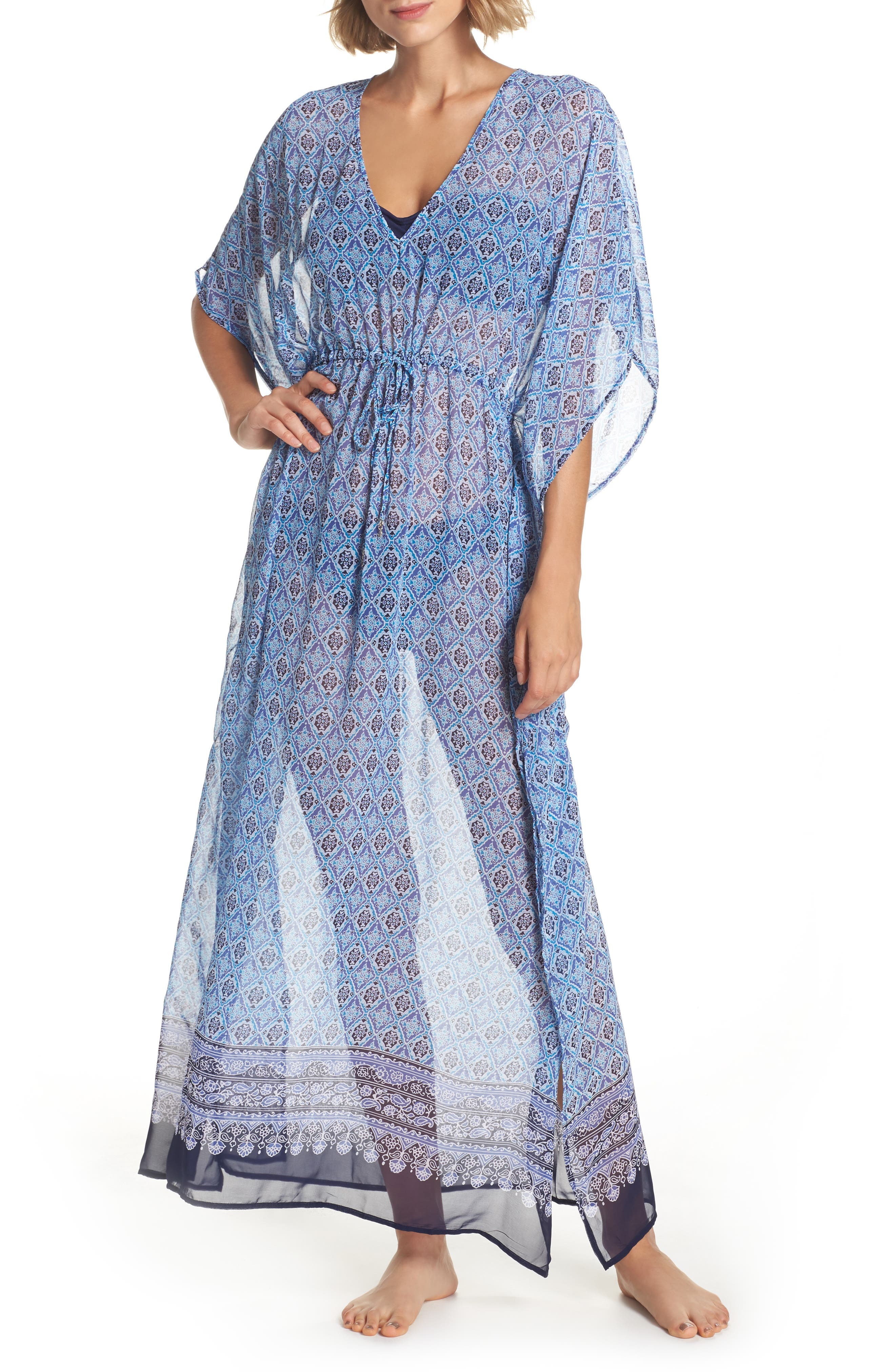 Tika Tiles Cover-Up Caftan,                         Main,                         color, 400
