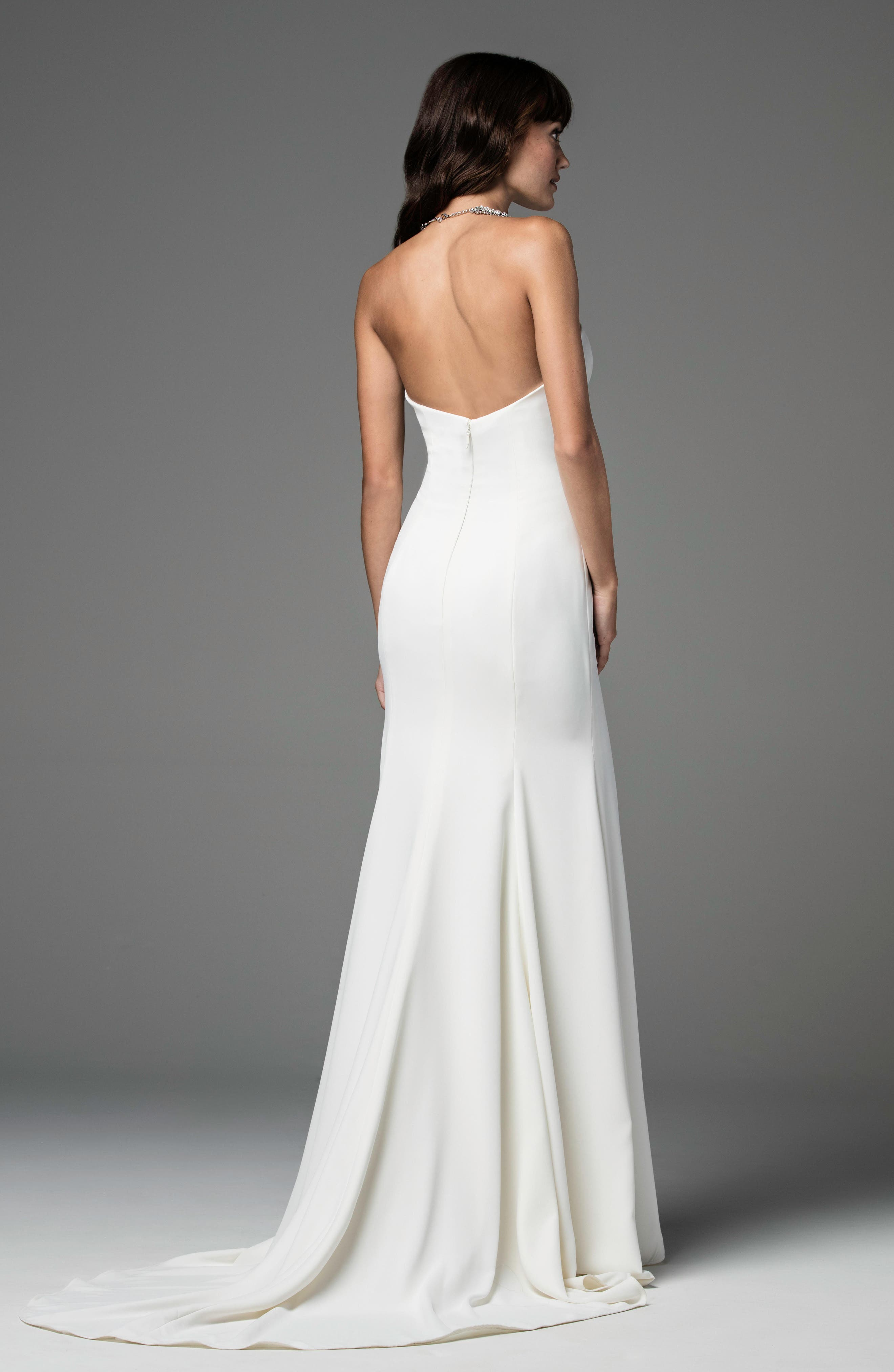 Caspia Strapless Georgette Fit & Flare Gown,                             Alternate thumbnail 2, color,                             IVORY/IVORY