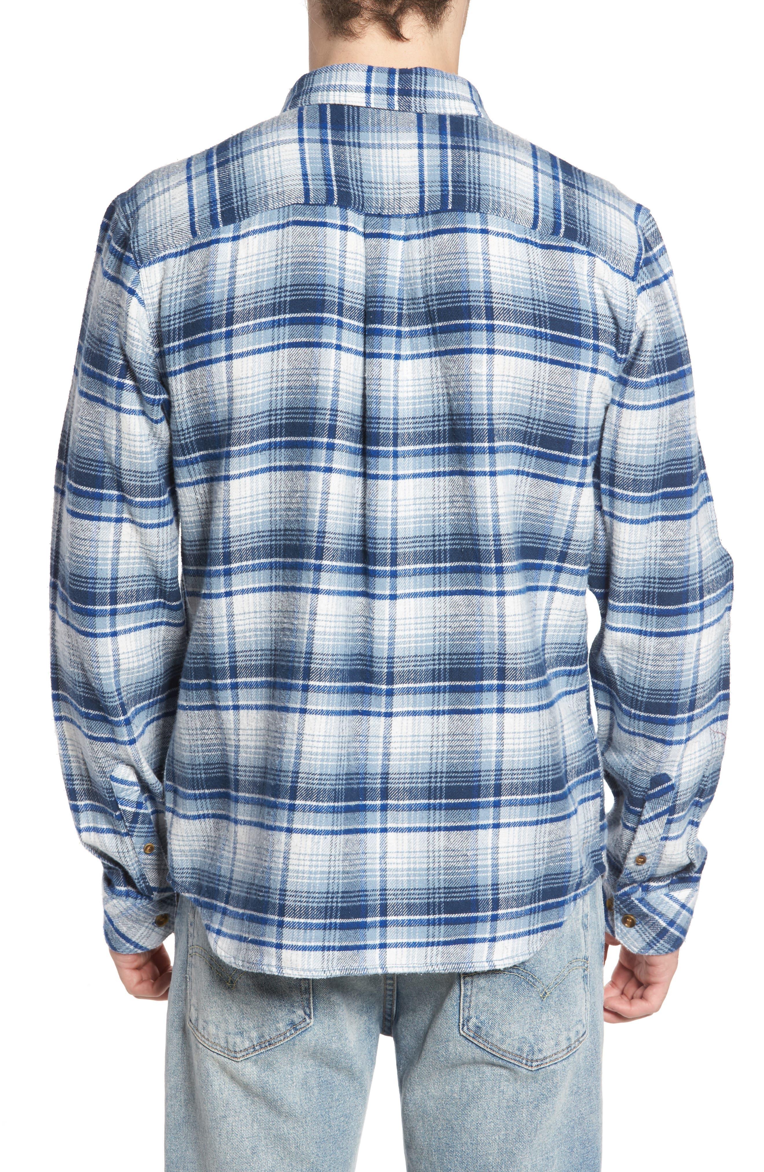 Butler Plaid Flannel Sport Shirt,                             Alternate thumbnail 5, color,