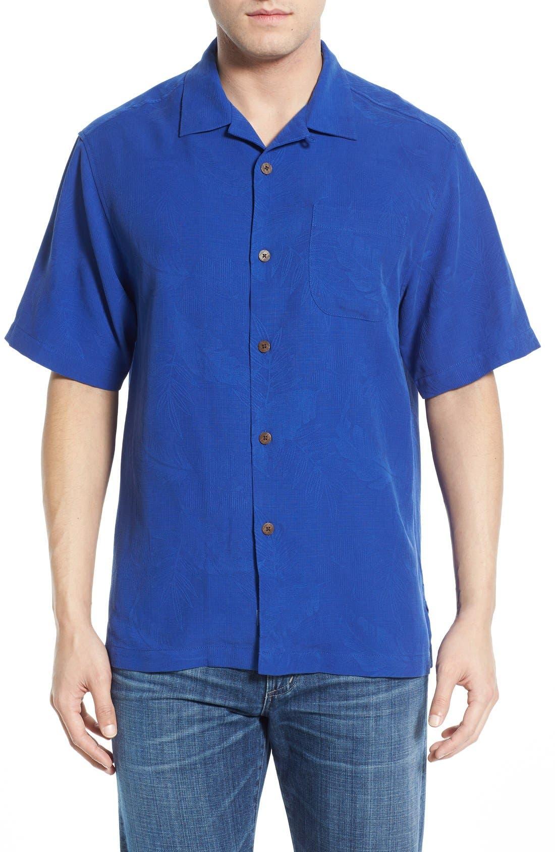 Rio Fronds Short Sleeve Silk Sport Shirt,                             Main thumbnail 12, color,