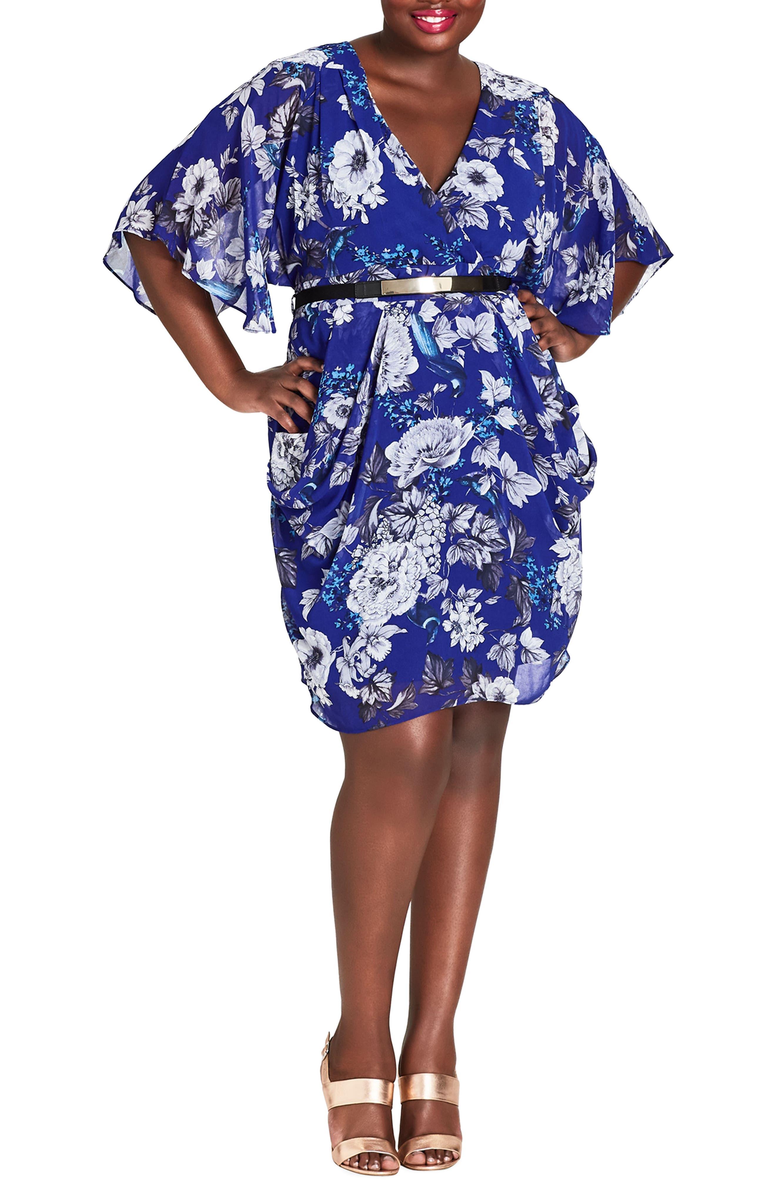 Plus Size City Chic Bluebird Belted Dress