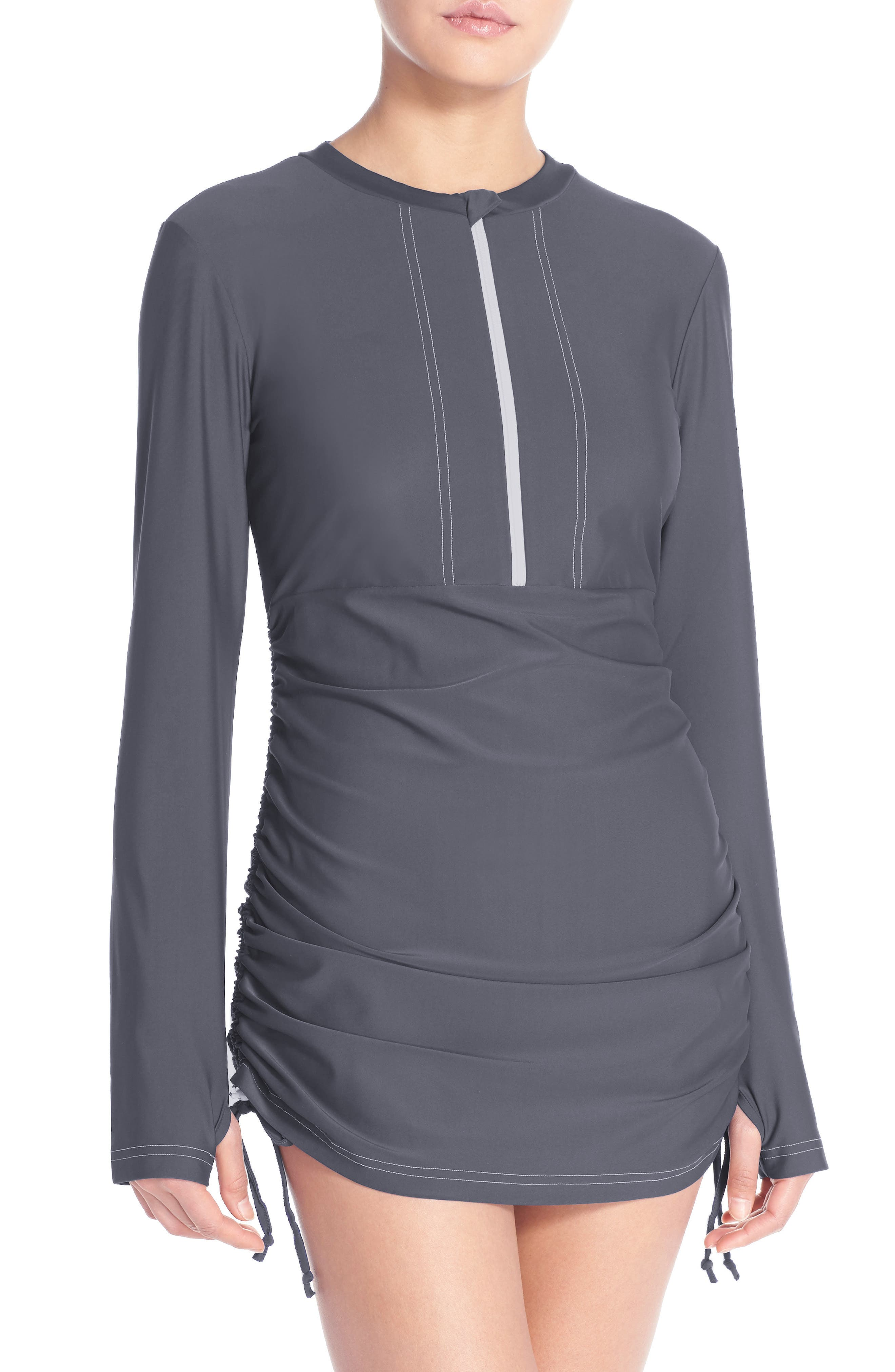 'Sonja' Long Sleeve Half Zip Convertible Swimdress,                             Alternate thumbnail 2, color,                             030