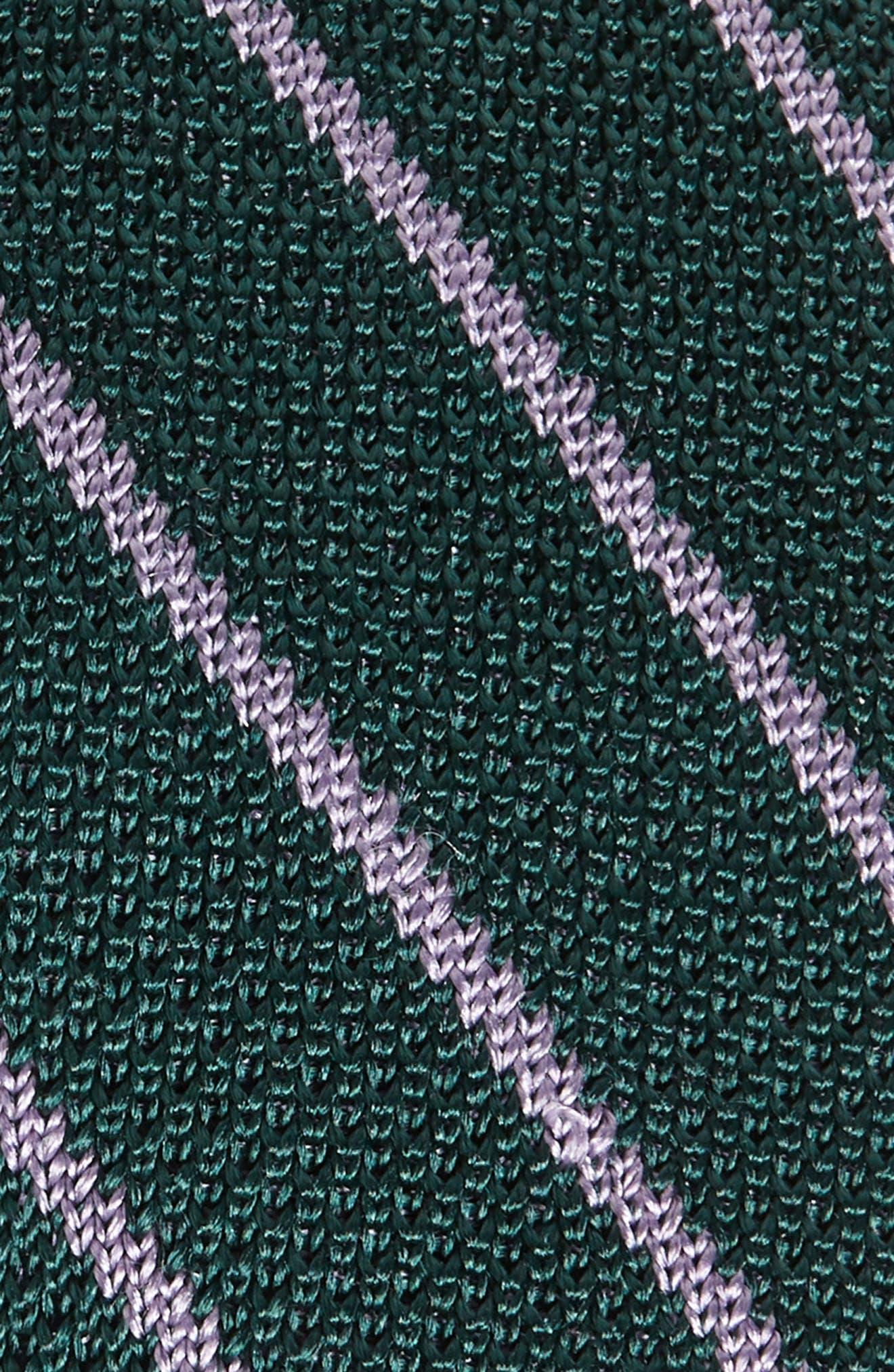 THE TIE BAR,                             Stripe Knit Silk Tie,                             Alternate thumbnail 2, color,                             HUNTER GREEN