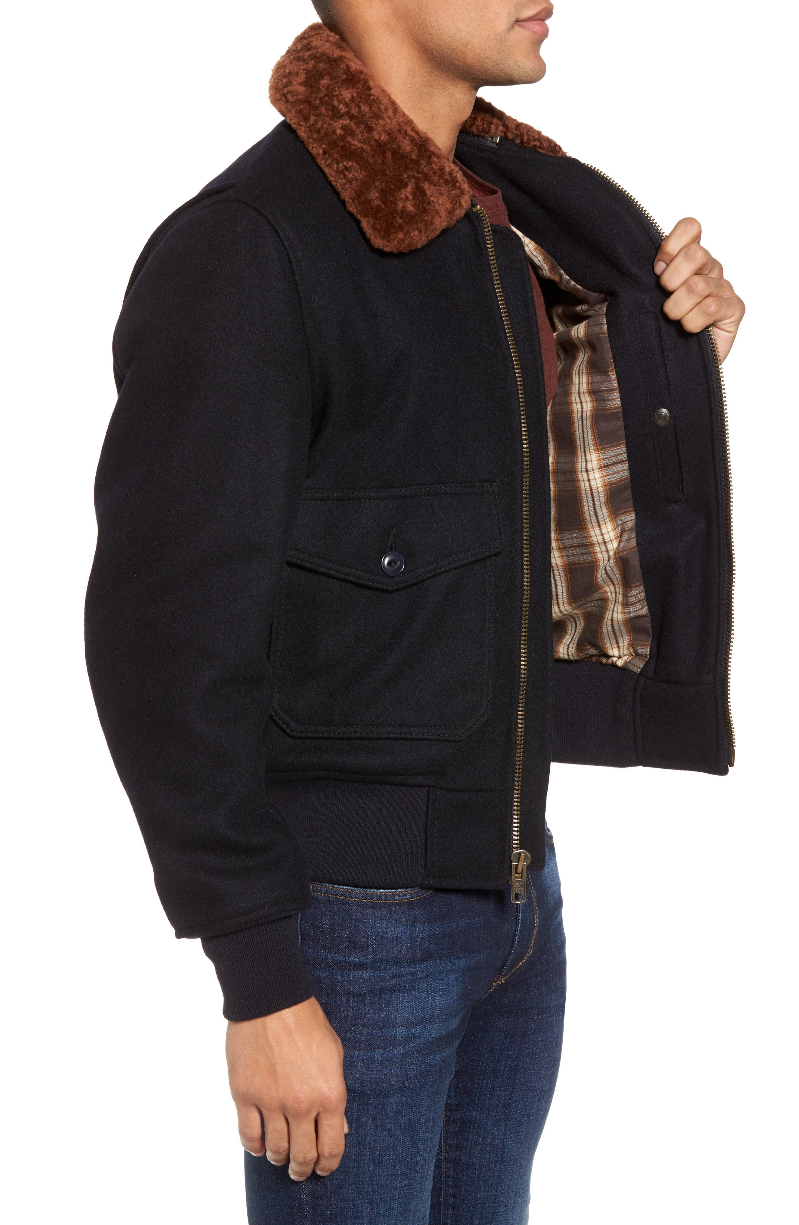 SchottNYC'G-1' Zip Front Bomber with Genuine Shearling Collar,                             Alternate thumbnail 4, color,                             410