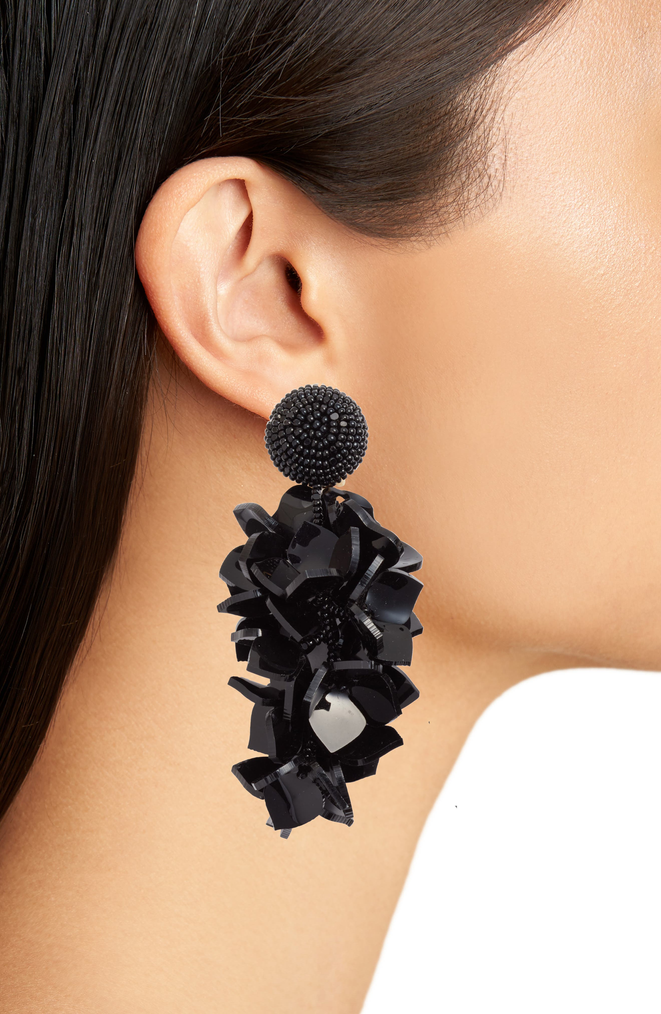 OSCAR DE LA RENTA,                             Falling Flowers Drop Earrings,                             Alternate thumbnail 2, color,                             001