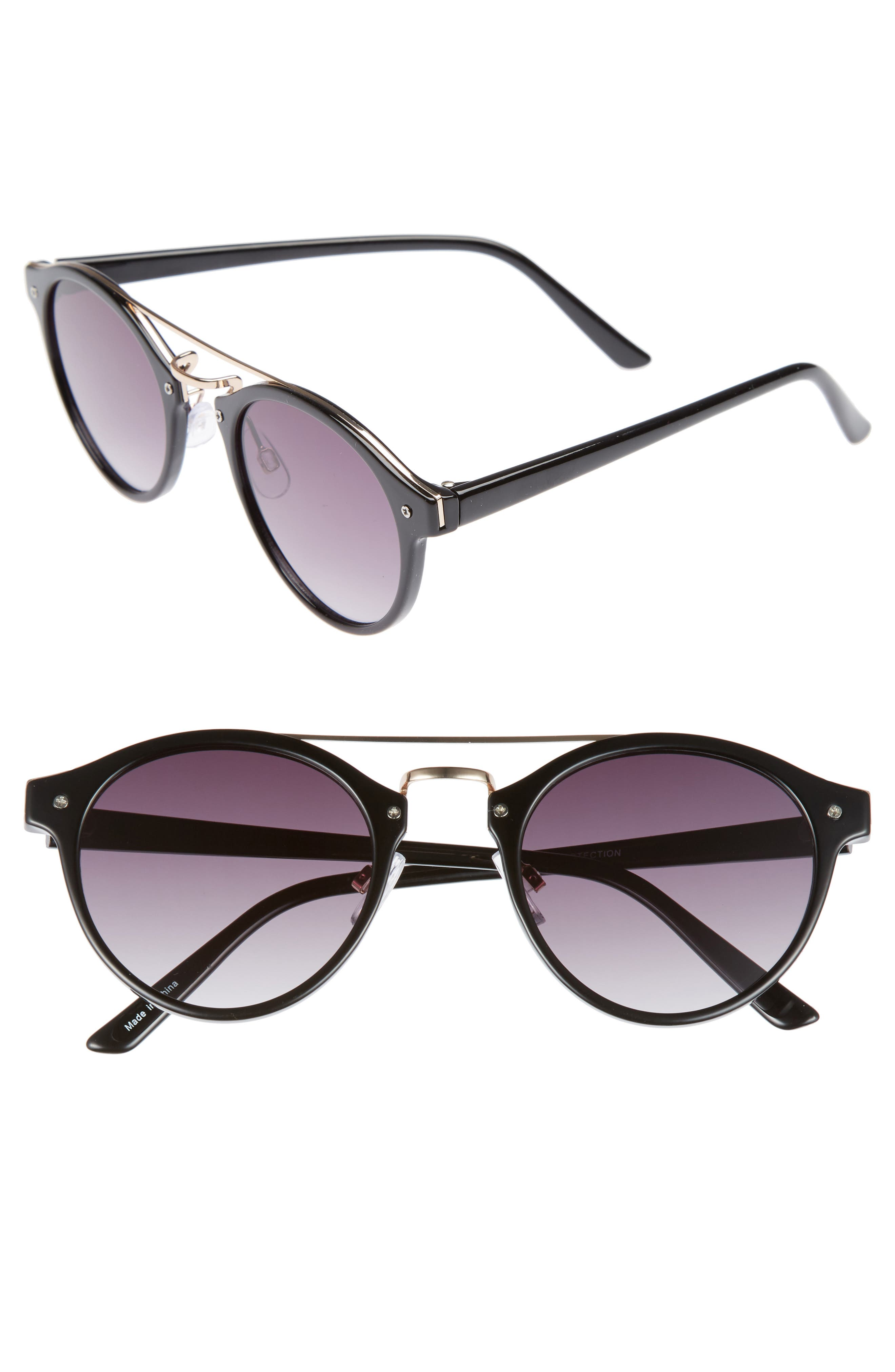 45mm Round Sunglasses,                             Main thumbnail 1, color,                             001