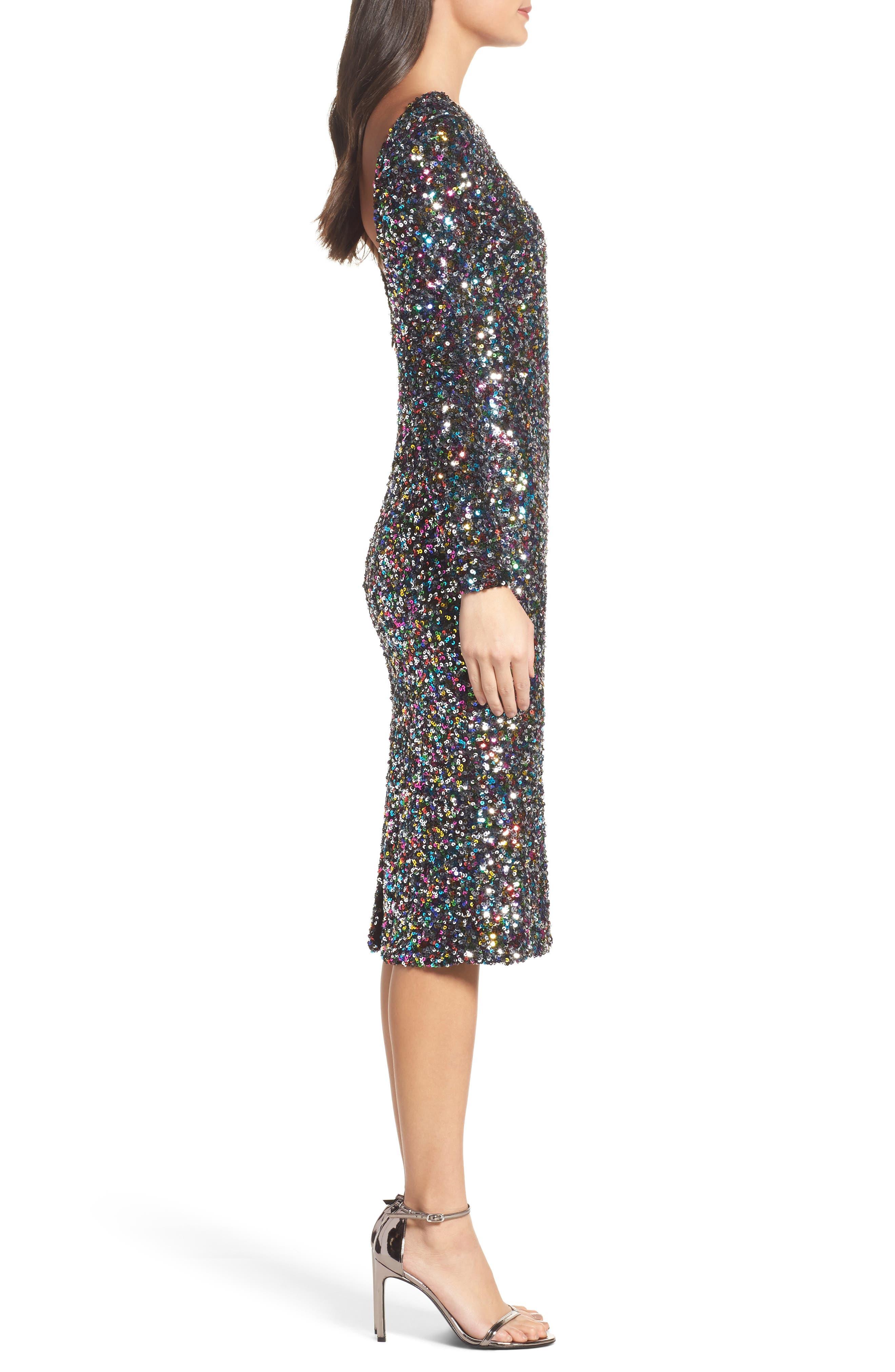 Emery Ombré Sequin Body-Con Dress,                             Alternate thumbnail 13, color,