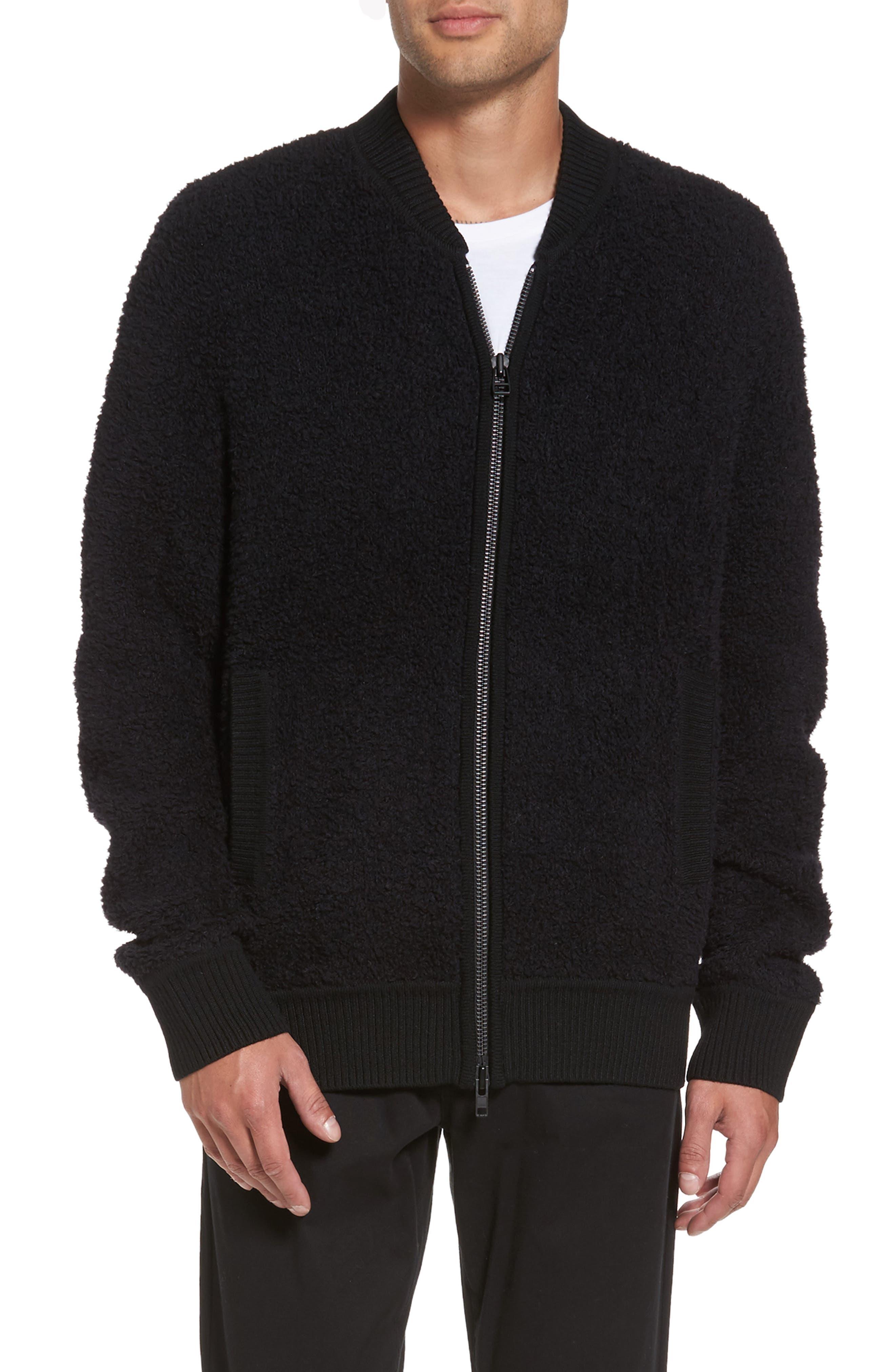 Fleece Wool Blend Bomber Jacket,                             Main thumbnail 1, color,                             001
