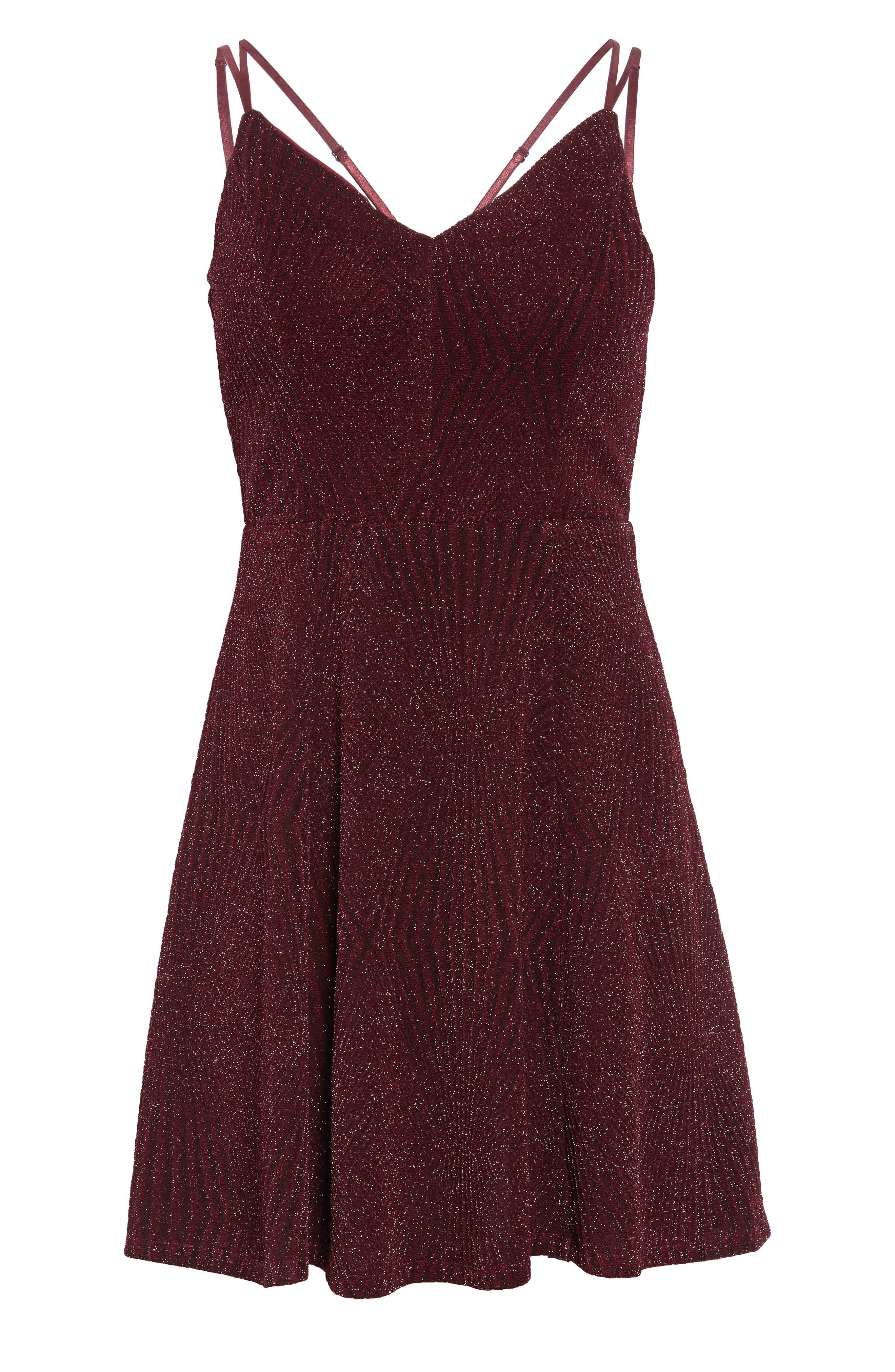 Glitter Knit Strappy Skater Dress,                             Alternate thumbnail 7, color,                             200