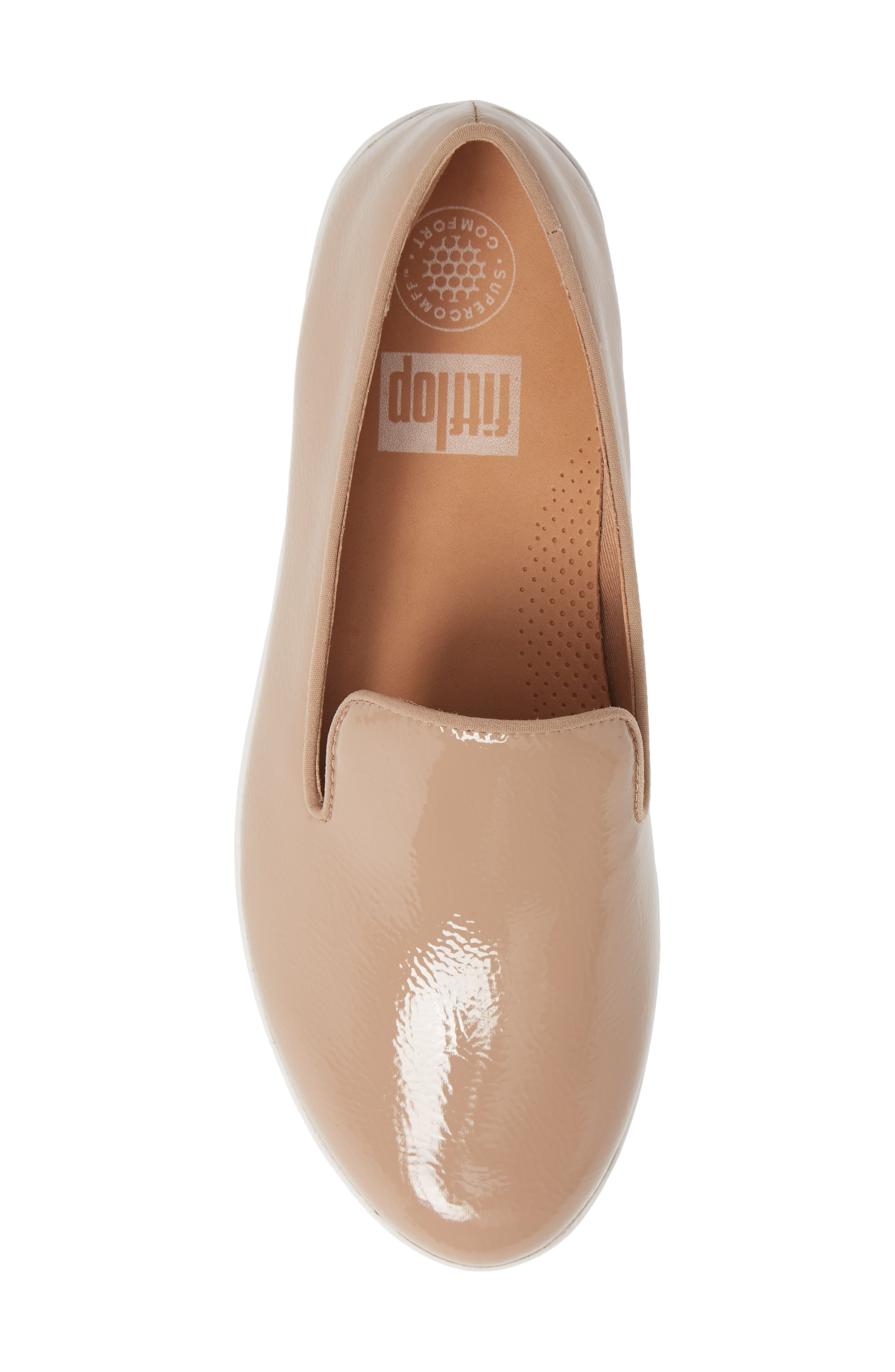 Audrey Smoking Slipper,                             Alternate thumbnail 5, color,                             TAUPE PATENT LEATHER