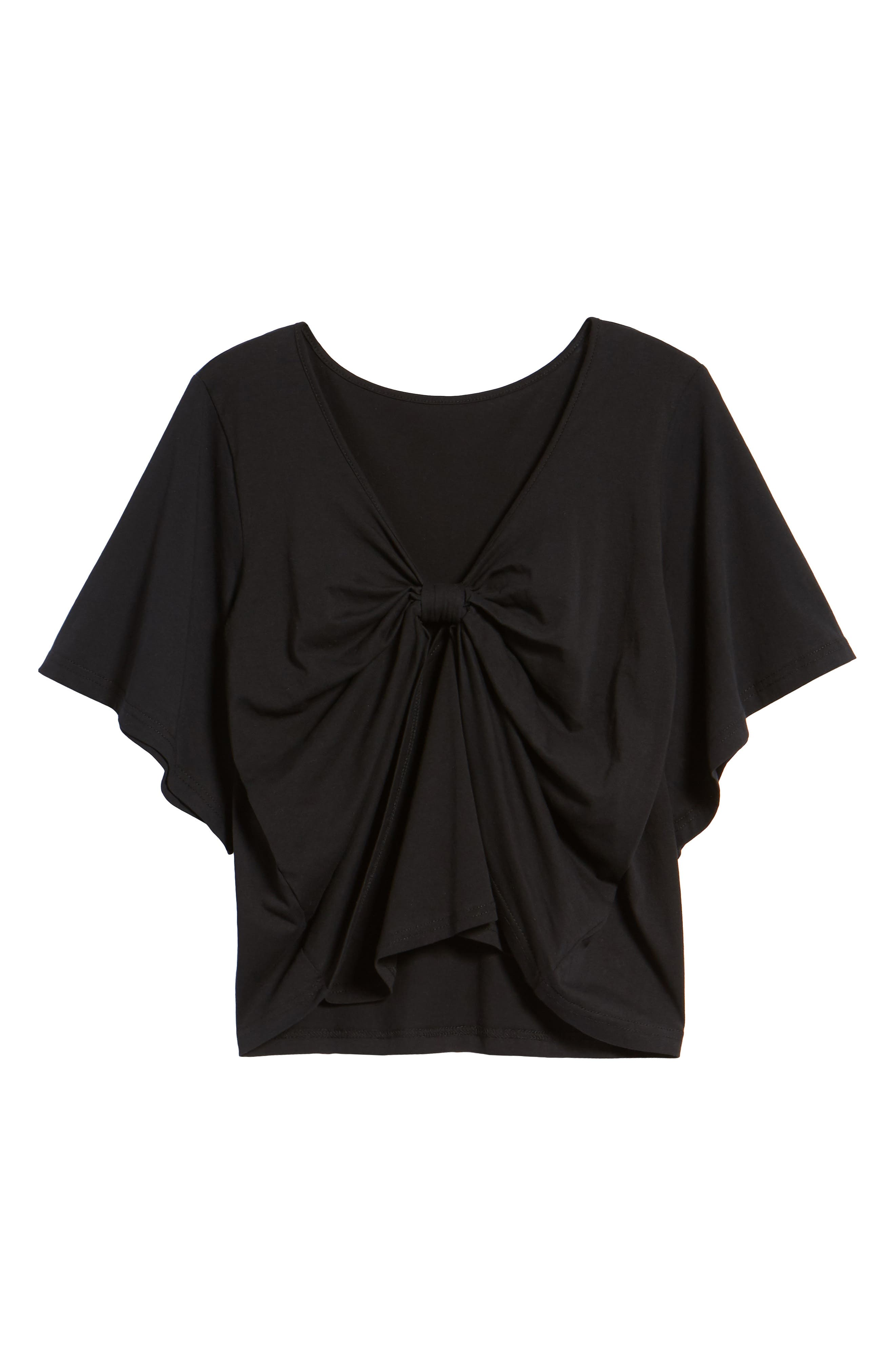 Knot Front Flutter Sleeve Tee,                             Alternate thumbnail 7, color,                             001