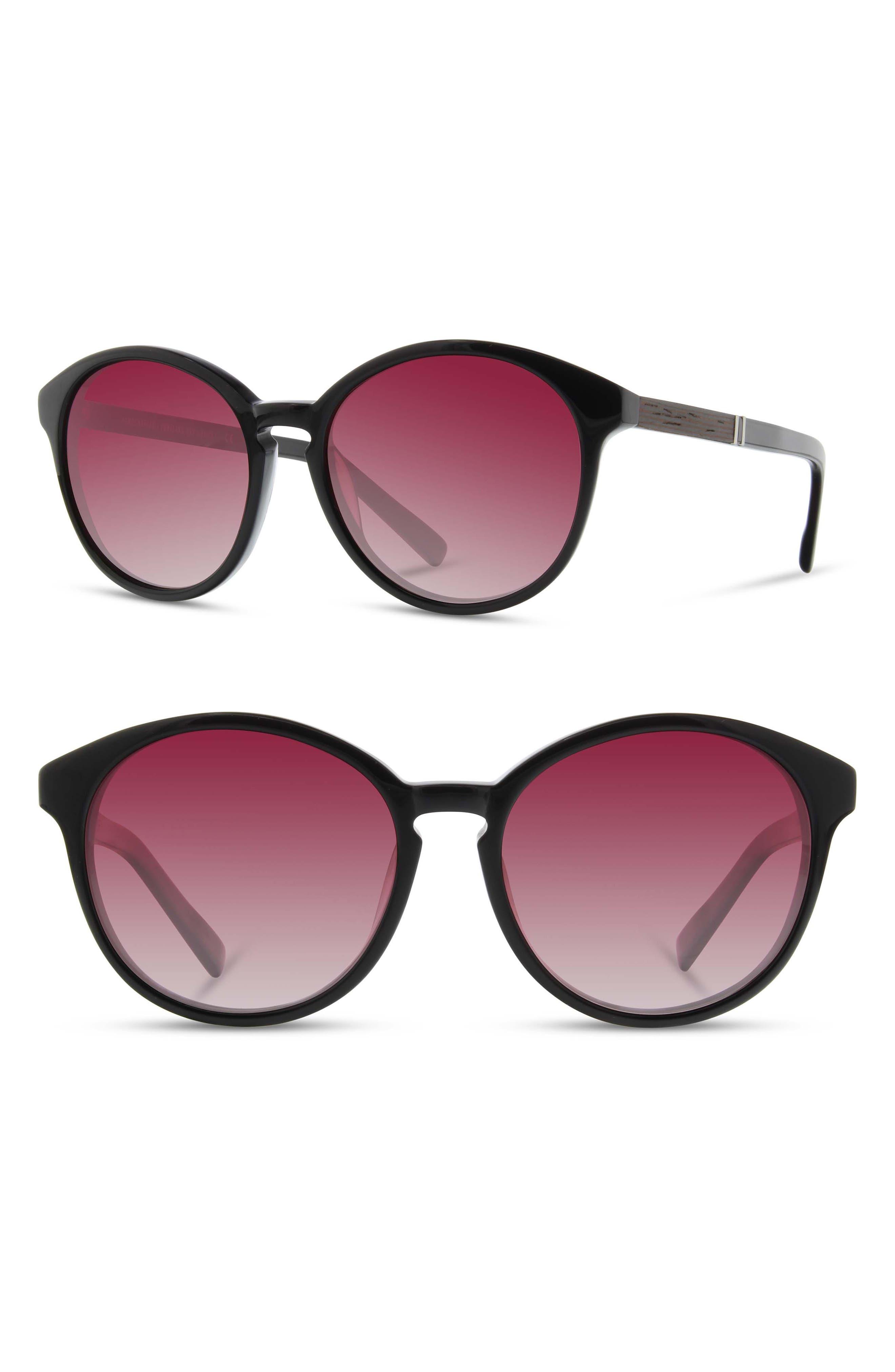 'Bailey' 53mm Polarized Sunglasses,                         Main,                         color, BLACK/ EBONY/ ROSE FADE