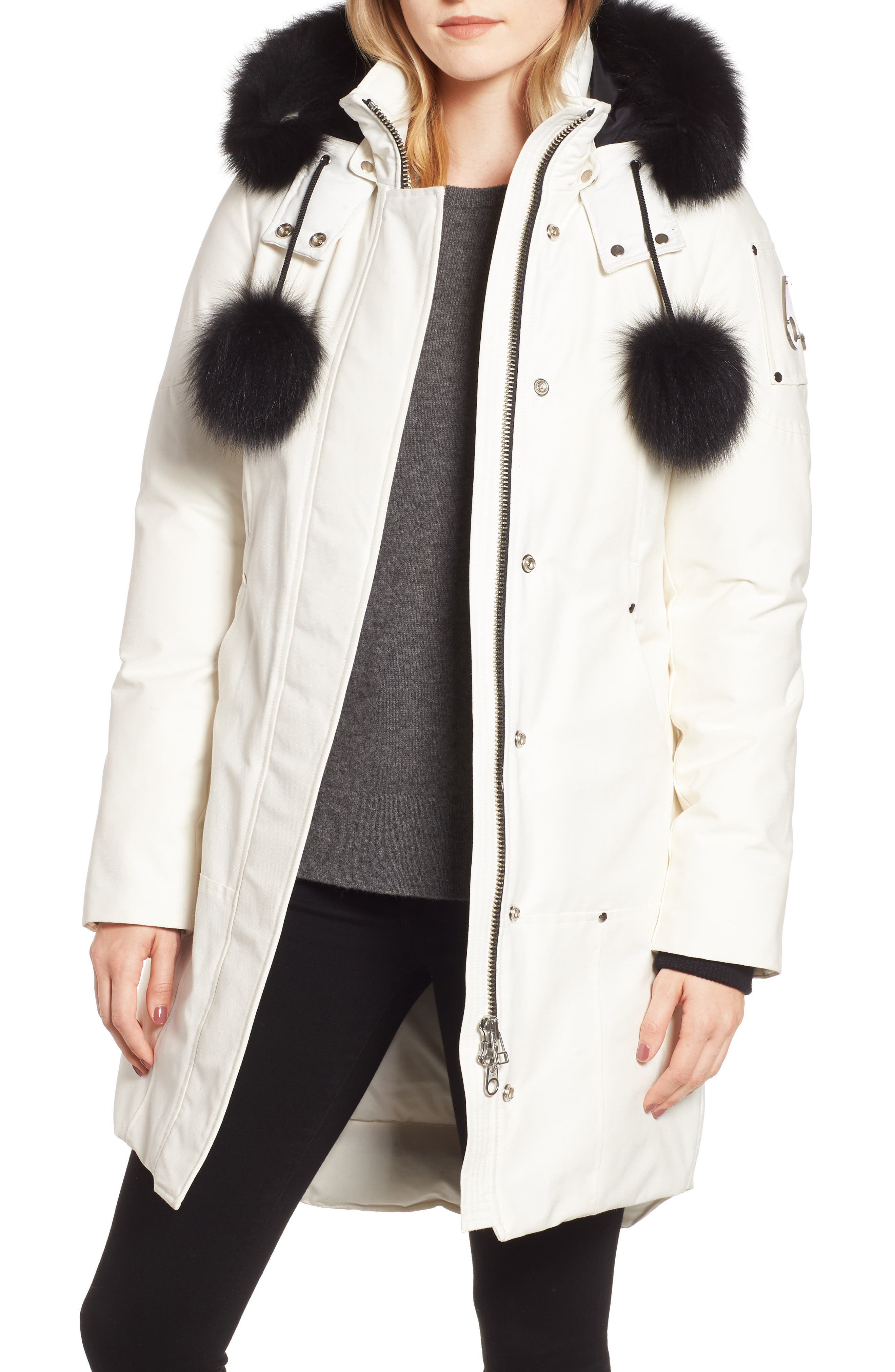 'Stirling' Down Parka with Genuine Fox Fur Trim,                             Main thumbnail 1, color,                             SNOW WHITE/ BLACK FOX
