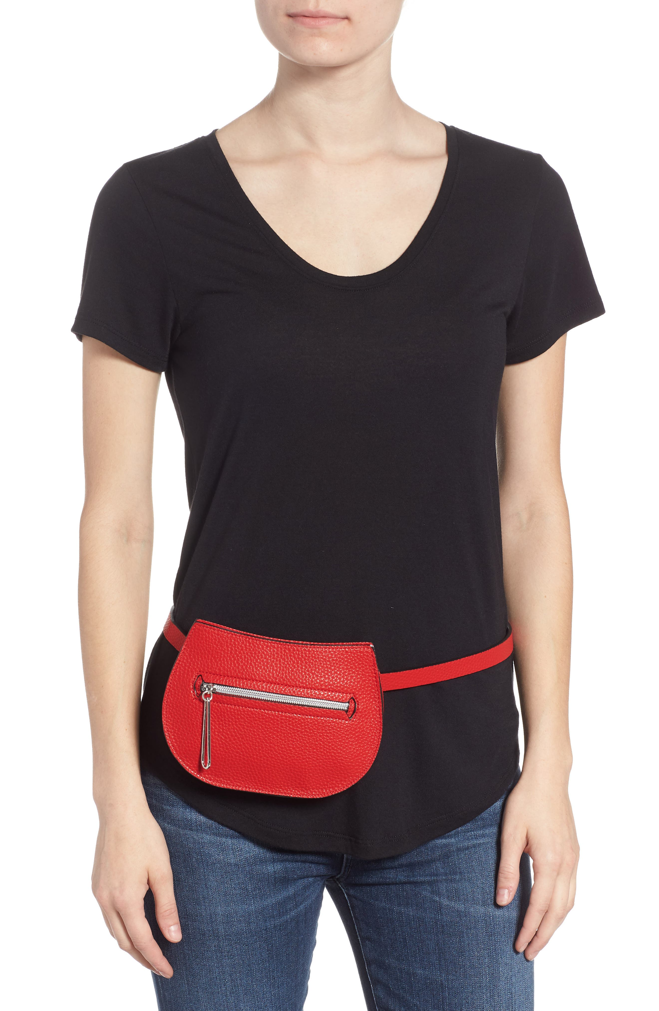 Trish Faux Leather Belt Bag,                             Alternate thumbnail 2, color,                             RED