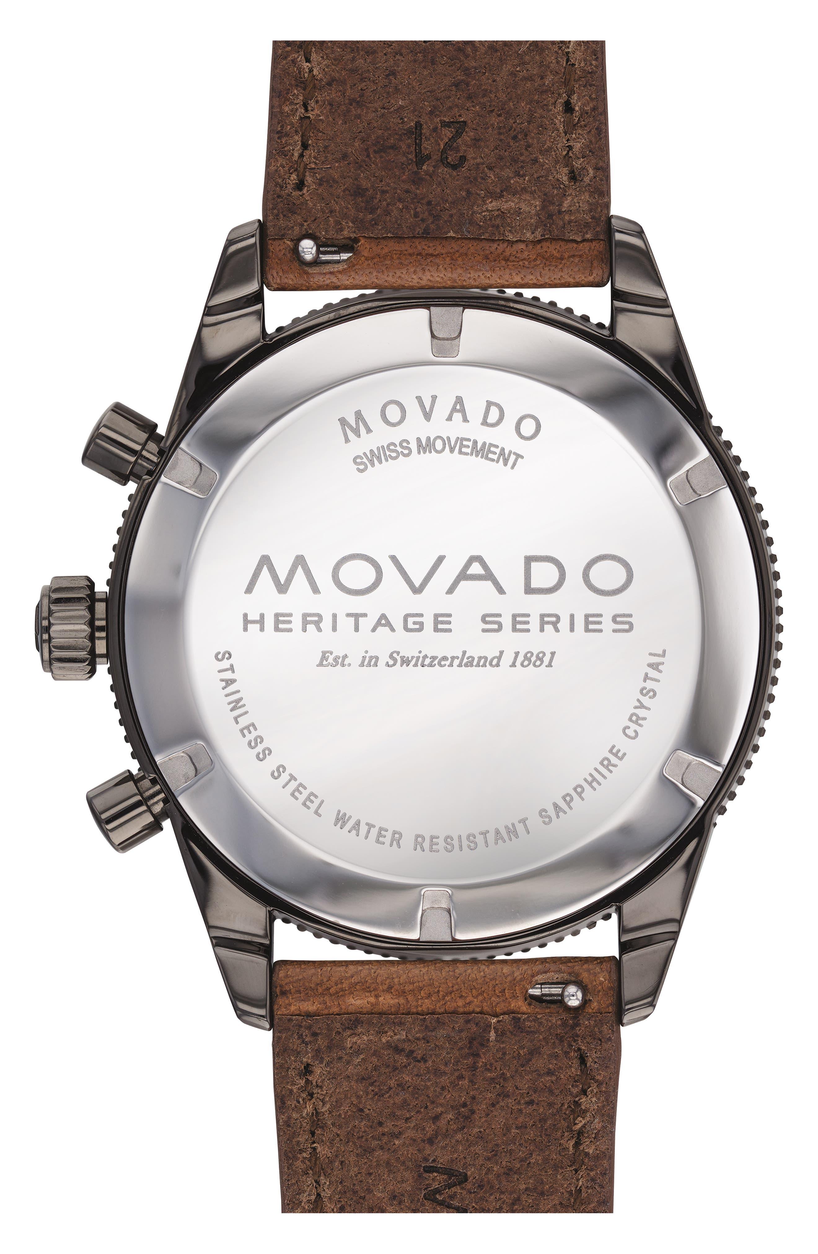 Heritage Chrono Leather Strap Watch, 42mm,                             Alternate thumbnail 2, color,                             COGNAC/ BLACK/ GREY