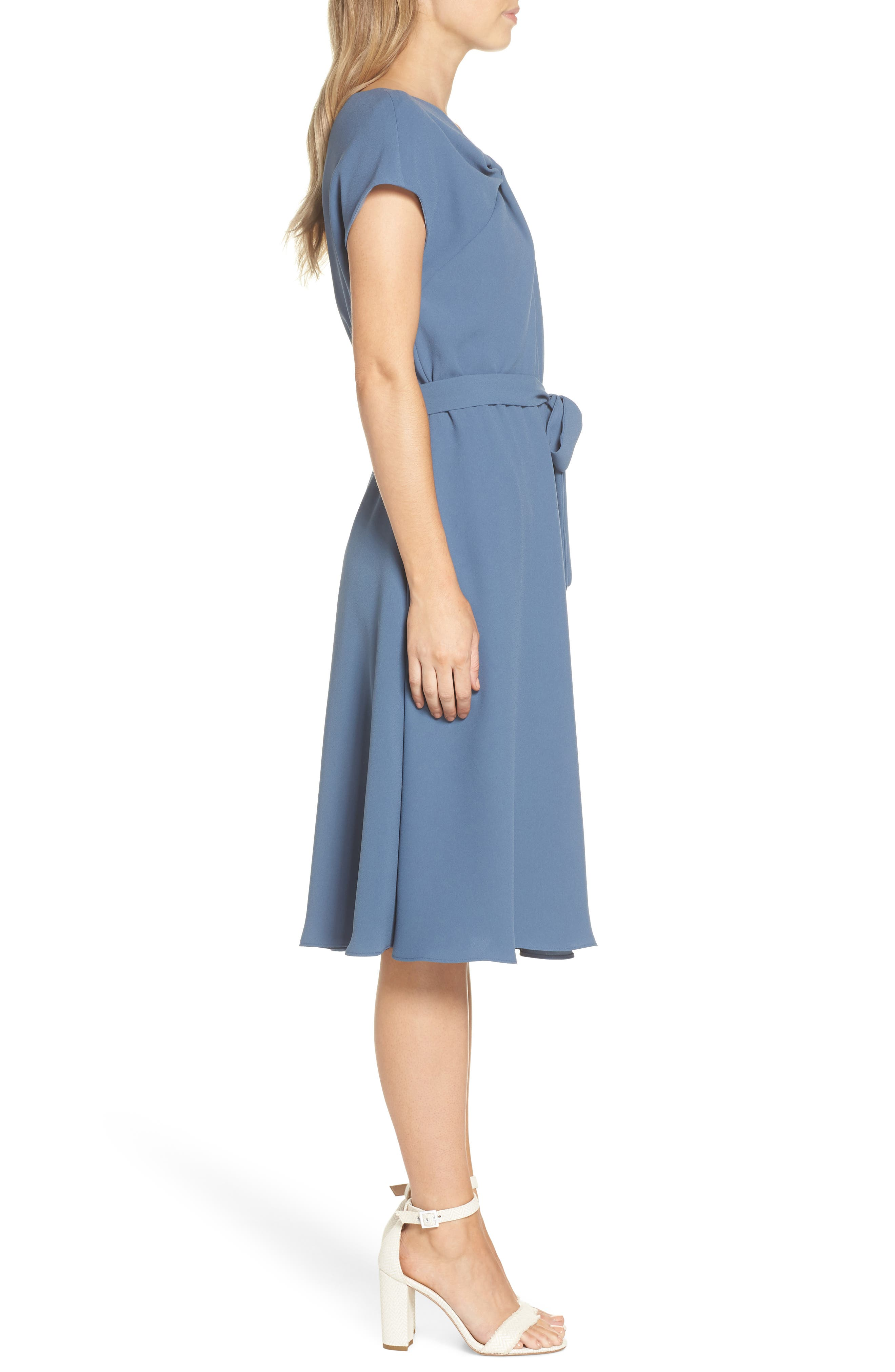 Vivian Twist Neck Fit & Flare Dress,                             Alternate thumbnail 3, color,                             DUSTY BLUE