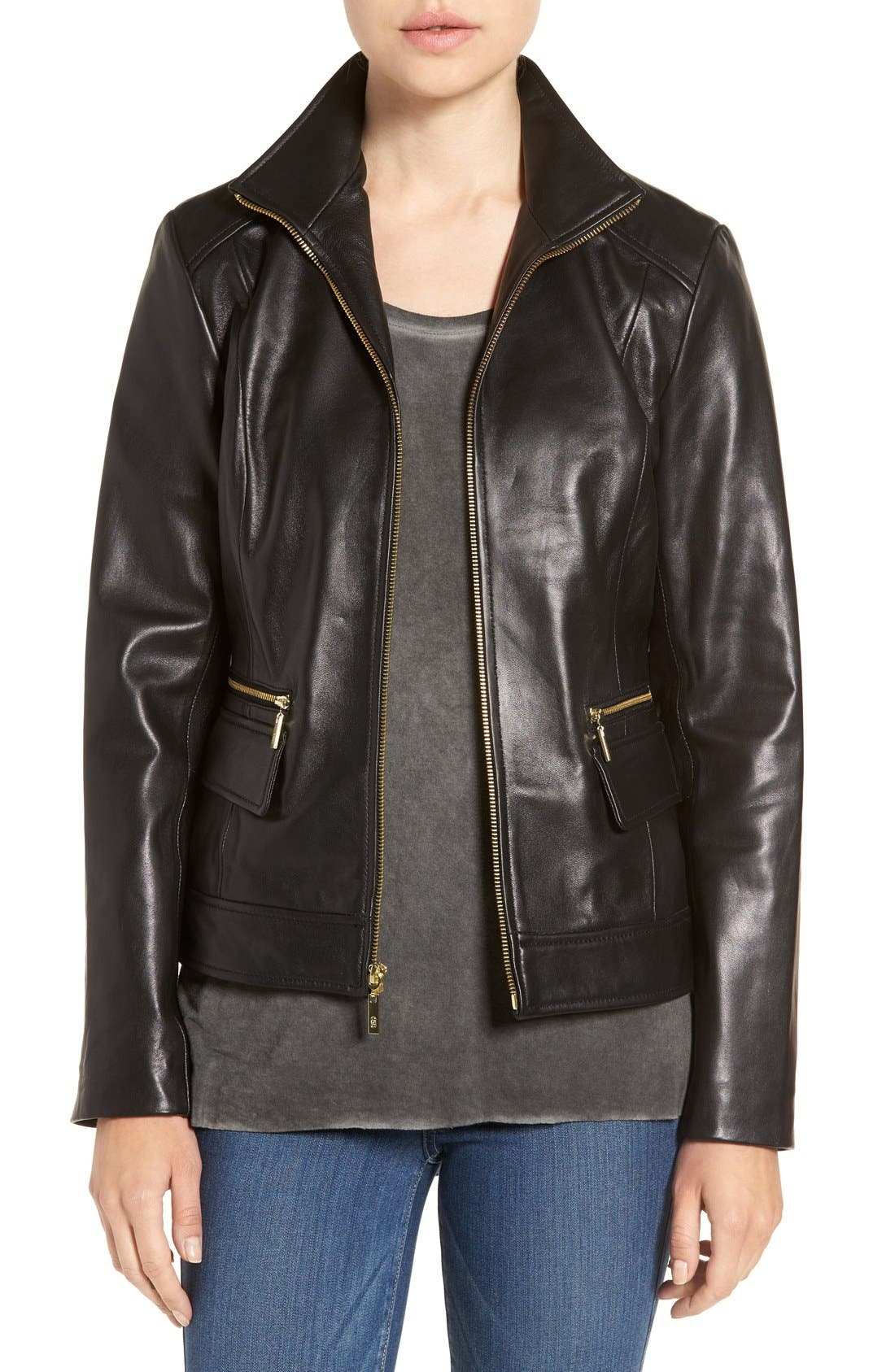 Wing Collar Leather Jacket,                         Main,                         color, 001