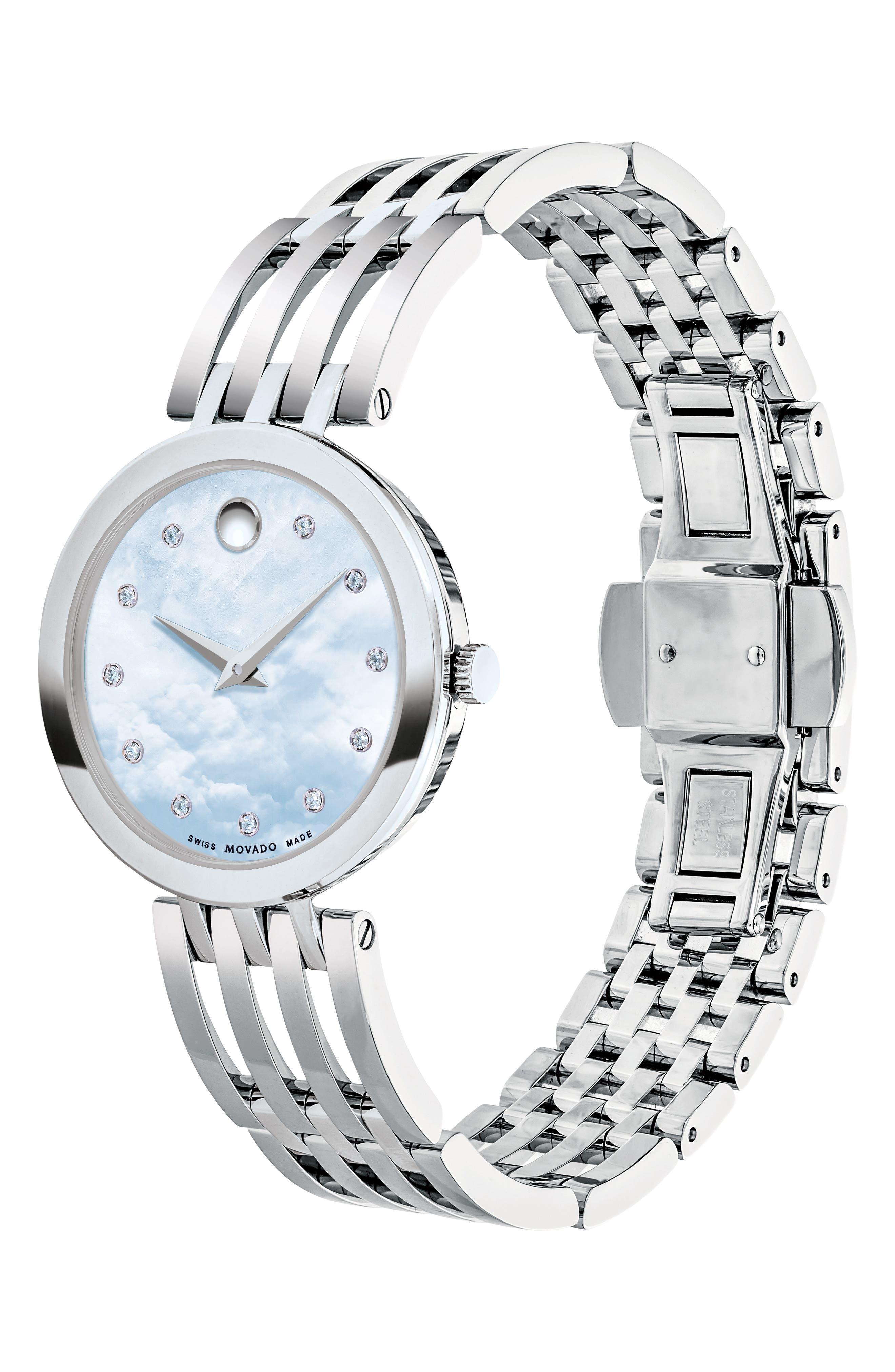 Esperanza Diamond Bracelet Watch, 28mm,                             Alternate thumbnail 3, color,                             SILVER/ BLUE MOP/ SILVER