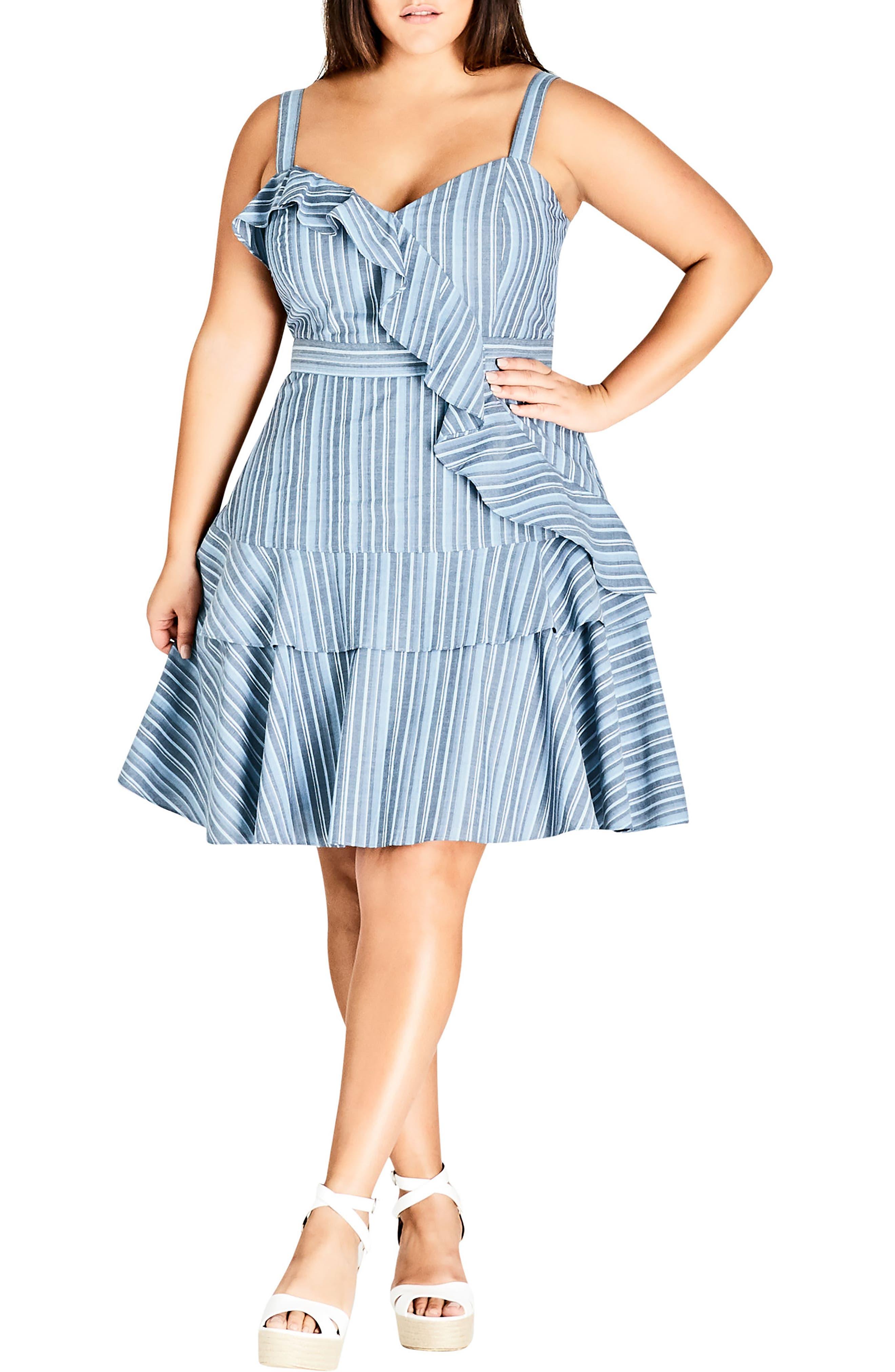 Summer Ruffle Stripe Dress,                             Main thumbnail 1, color,                             BLUE