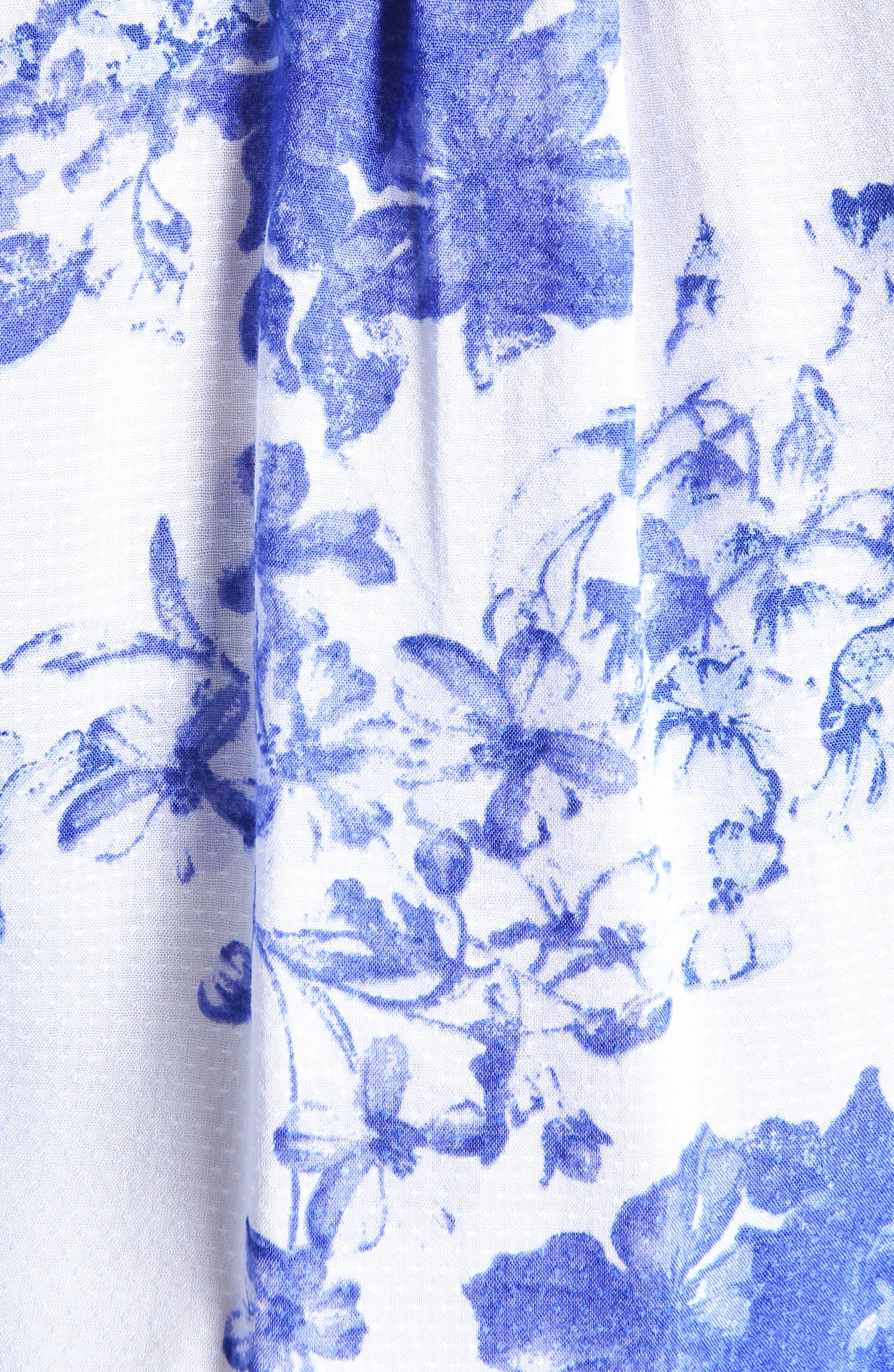 Elza Ruffle Sleeve Top,                             Alternate thumbnail 5, color,                             WHITE/ BLUE