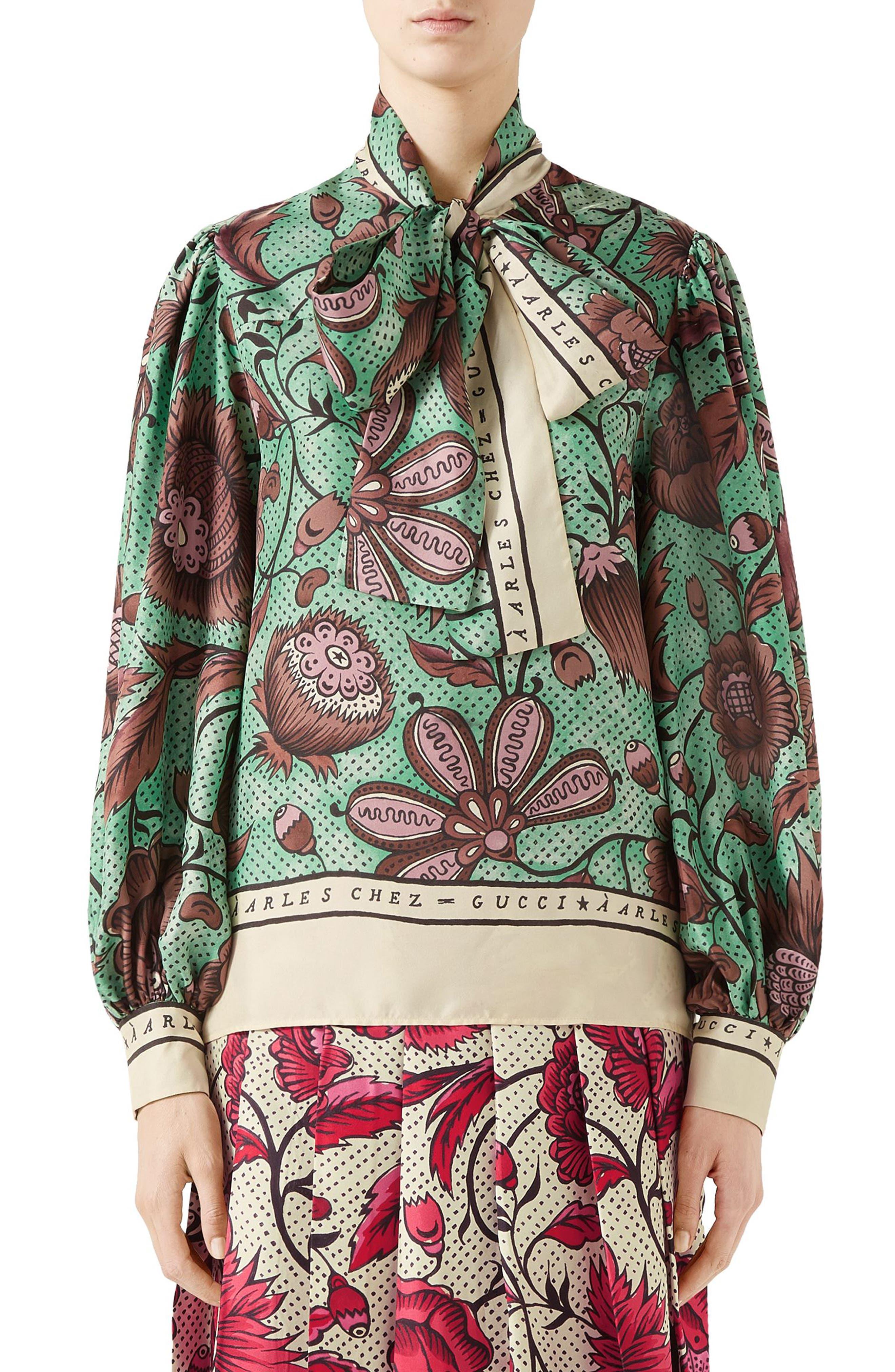 Watercolor Floral Print Tie Neck Silk Blouse,                         Main,                         color, 2125 BROWN/ GREEN PRINTED