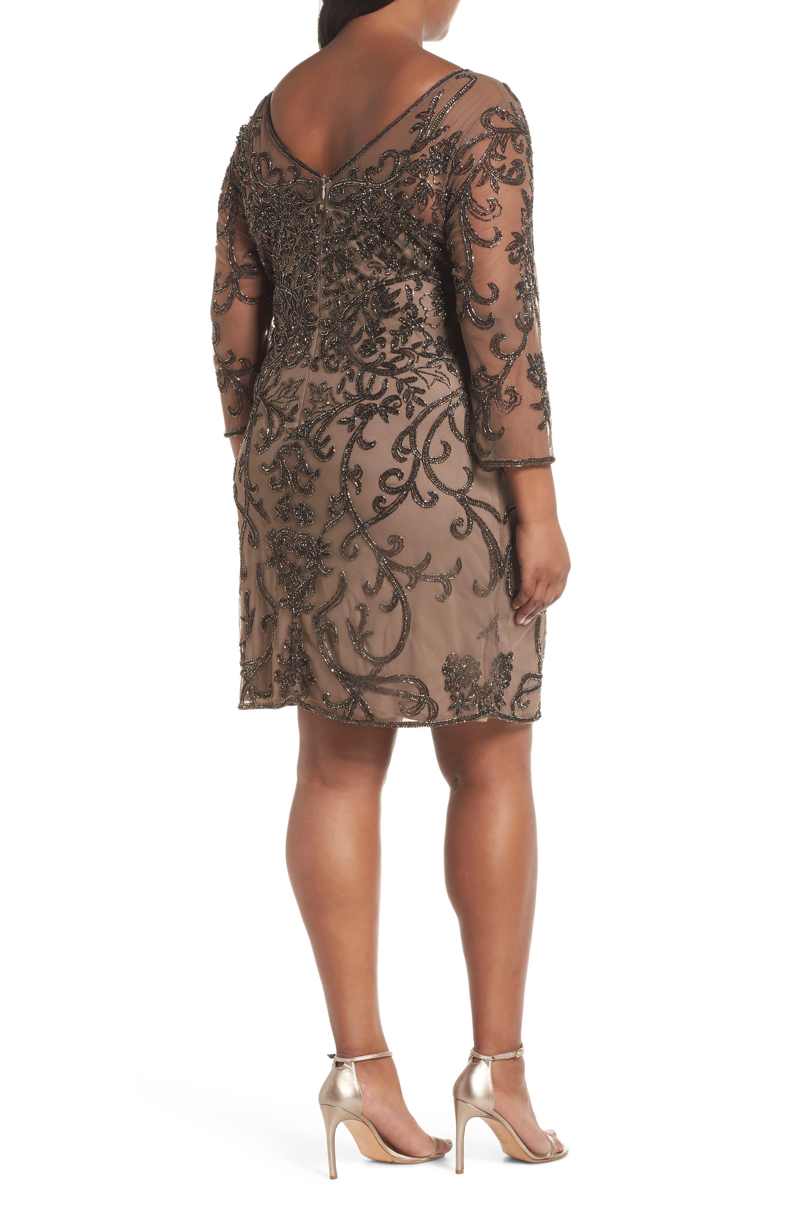 Illusion Sleeve Beaded Sheath Dress,                             Alternate thumbnail 2, color,                             BROWN/ GOLD