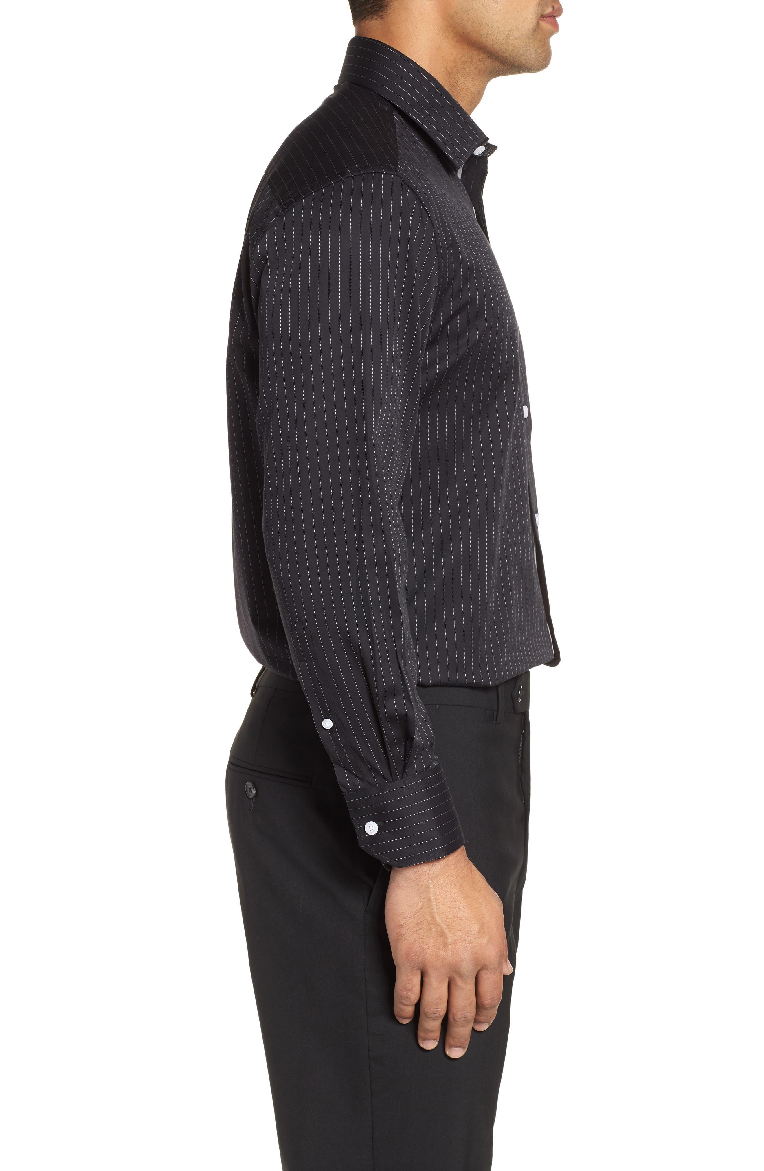 Regular Fit Stretch Stripe Dress Shirt,                             Alternate thumbnail 4, color,                             BLACK