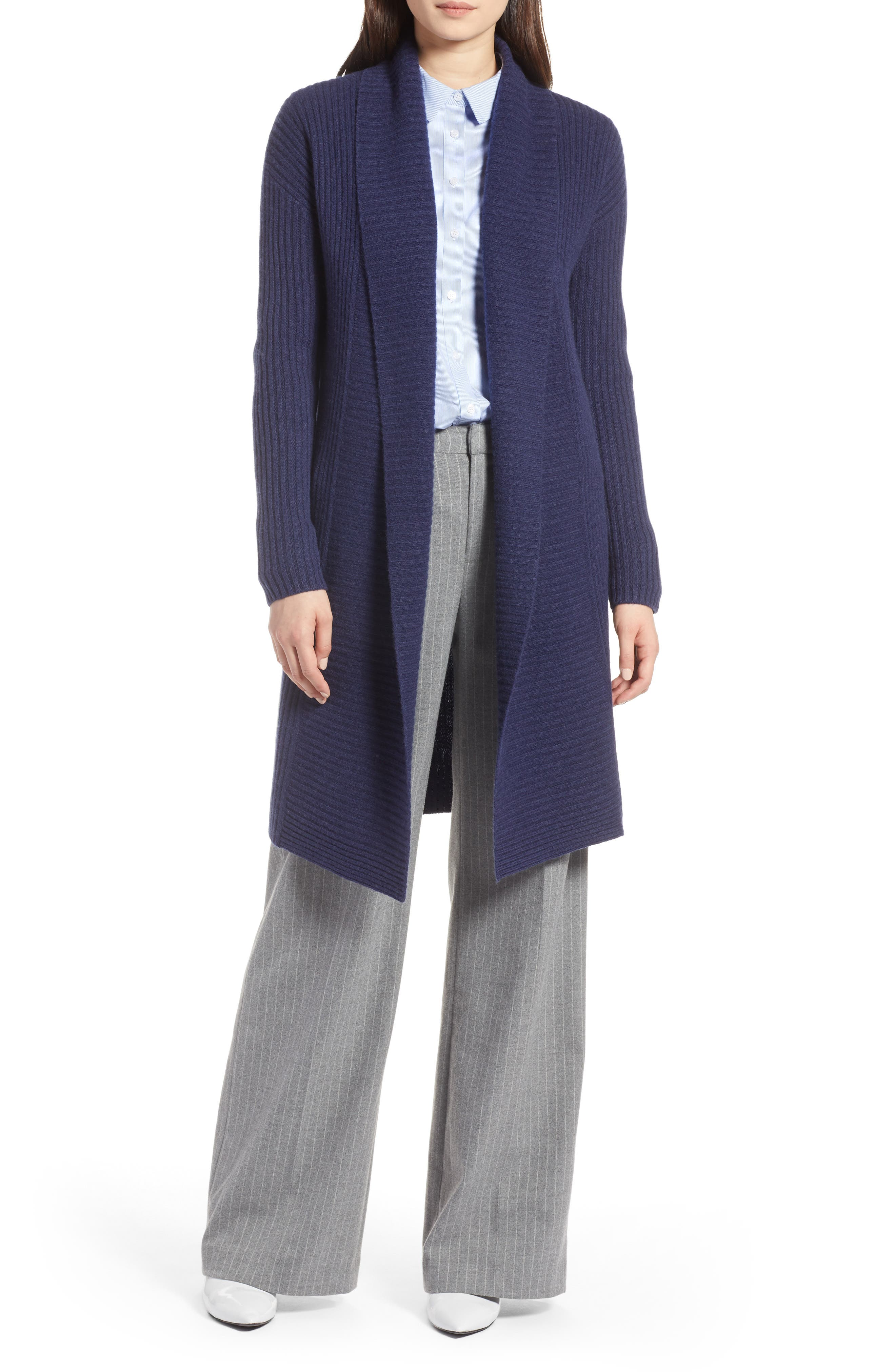 Long Ribbed Cashmere Cardigan,                             Main thumbnail 1, color,                             410