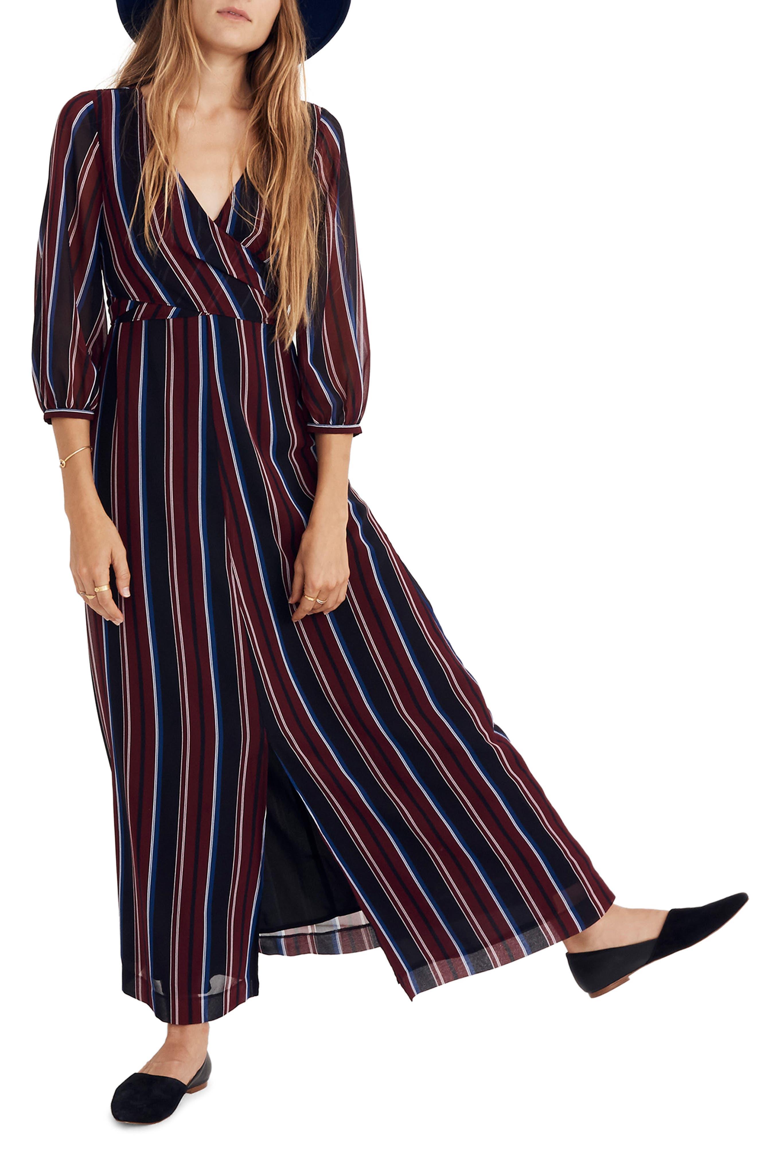 Madewell Stripe Wraparound Maxi Dress, Black