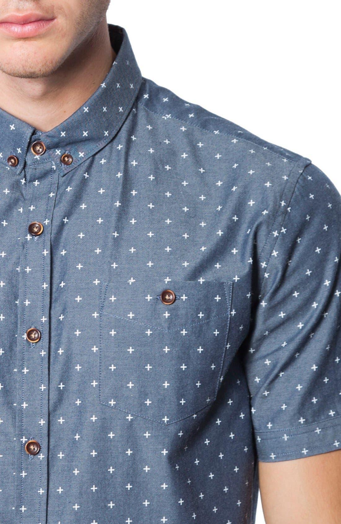 'Habits' Trim Fit Short Sleeve Chambray Shirt,                             Alternate thumbnail 4, color,                             410