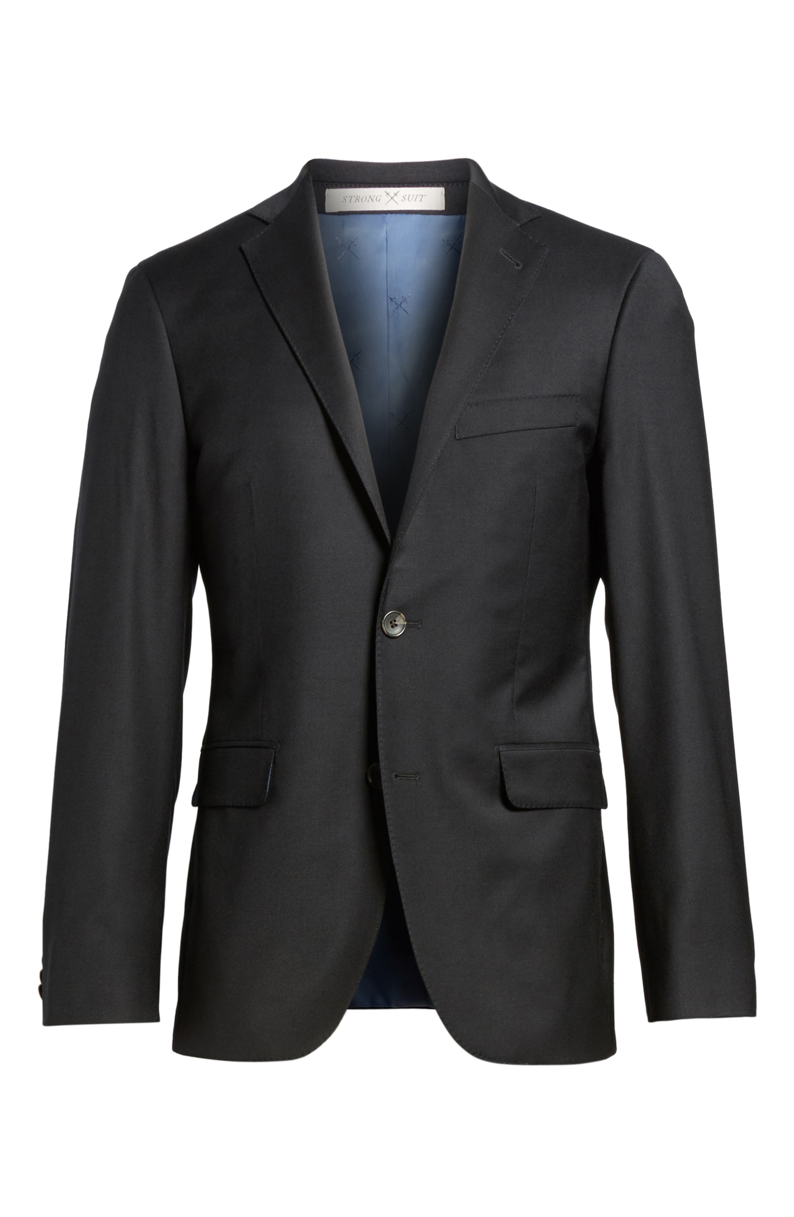 Trim Fit Stretch Solid Wool Blazer,                             Alternate thumbnail 5, color,