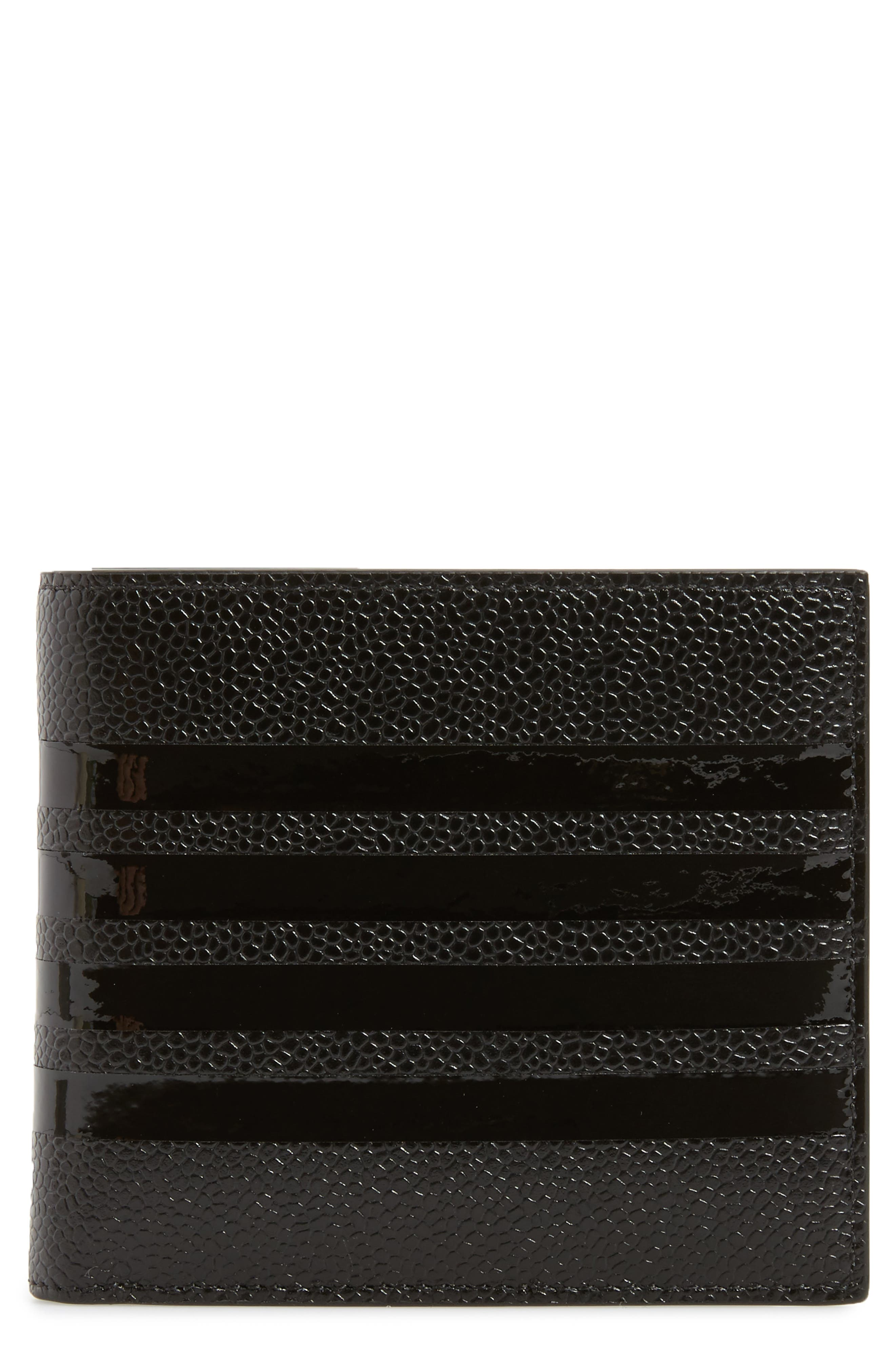 THOM BROWNE Patent Leather Bifold Wallet, Main, color, 001